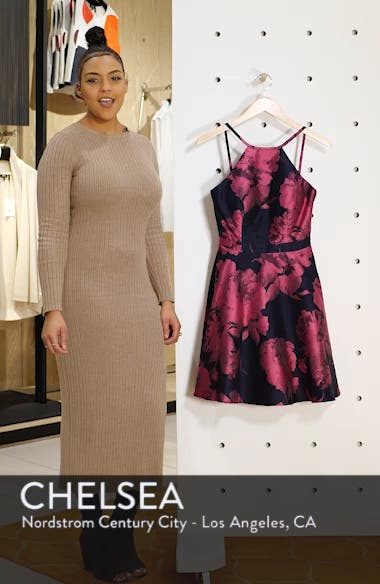 Floral Brocade Fit & Flare Dress, sales video thumbnail