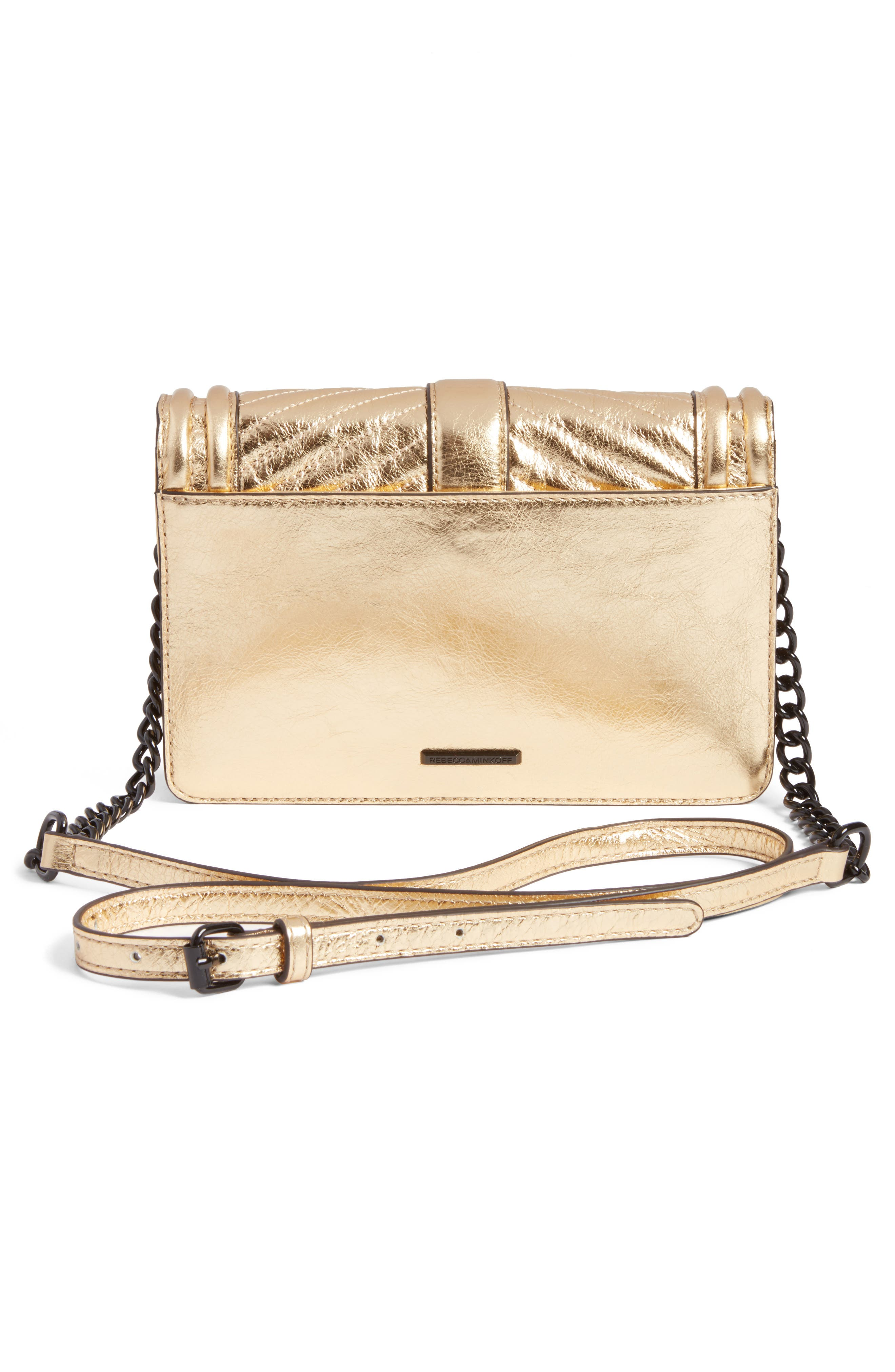 Small Love Metallic Leather Crossbody Bag,                             Alternate thumbnail 3, color,                             710
