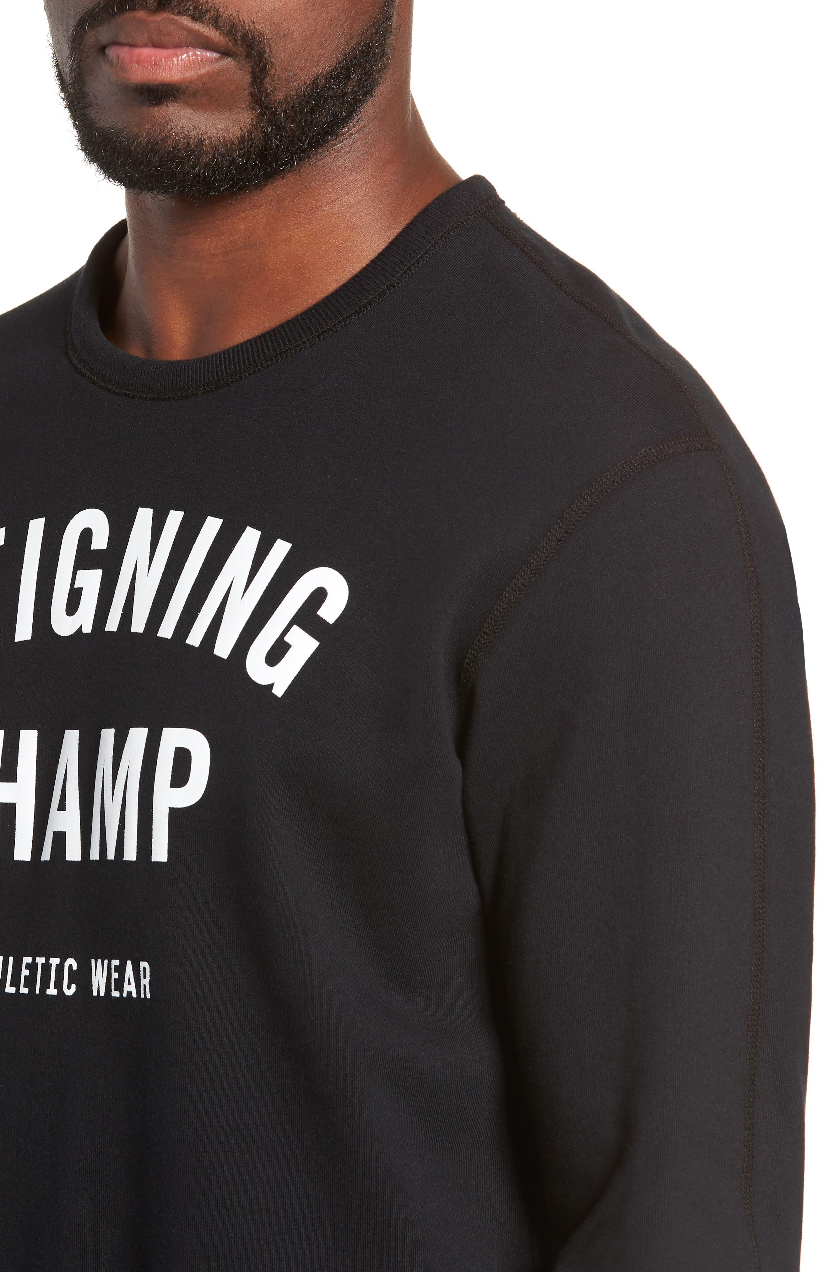 Gym Logo Sweatshirt,                             Alternate thumbnail 4, color,                             BLACK/ WHITE