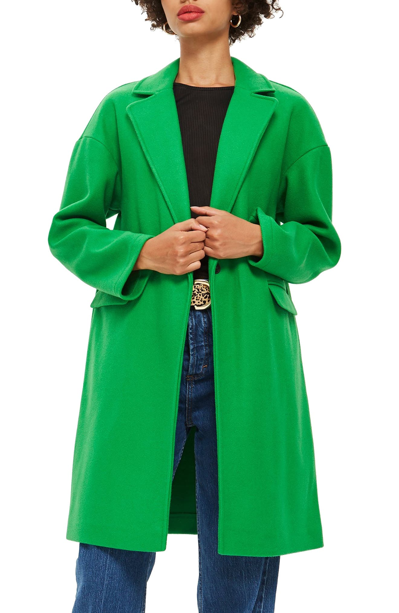 Lily Knit Back Midi Coat,                             Main thumbnail 1, color,                             BRIGHT GREEN