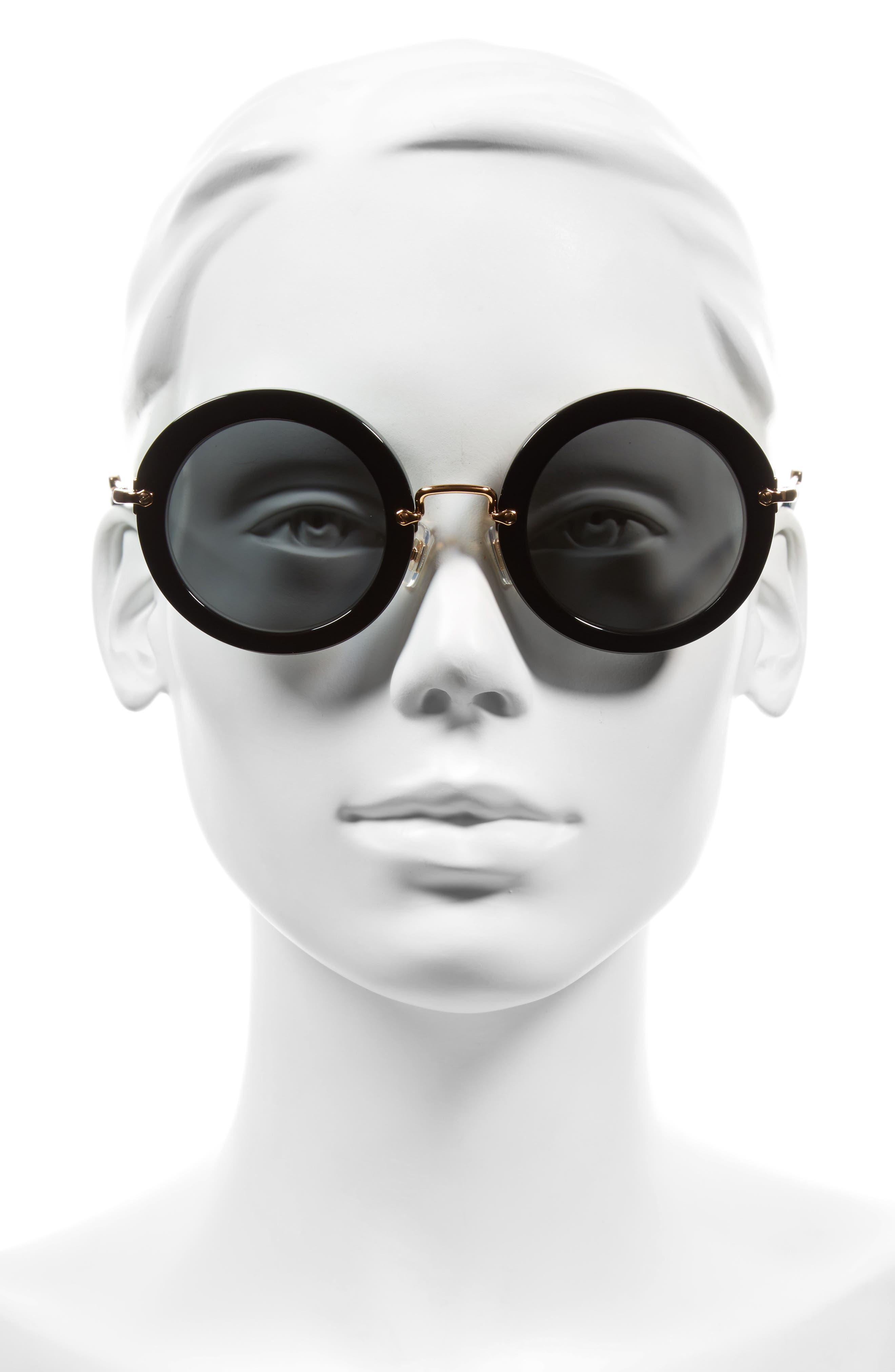 49mm Round Retro Sunglasses,                             Alternate thumbnail 3, color,                             001