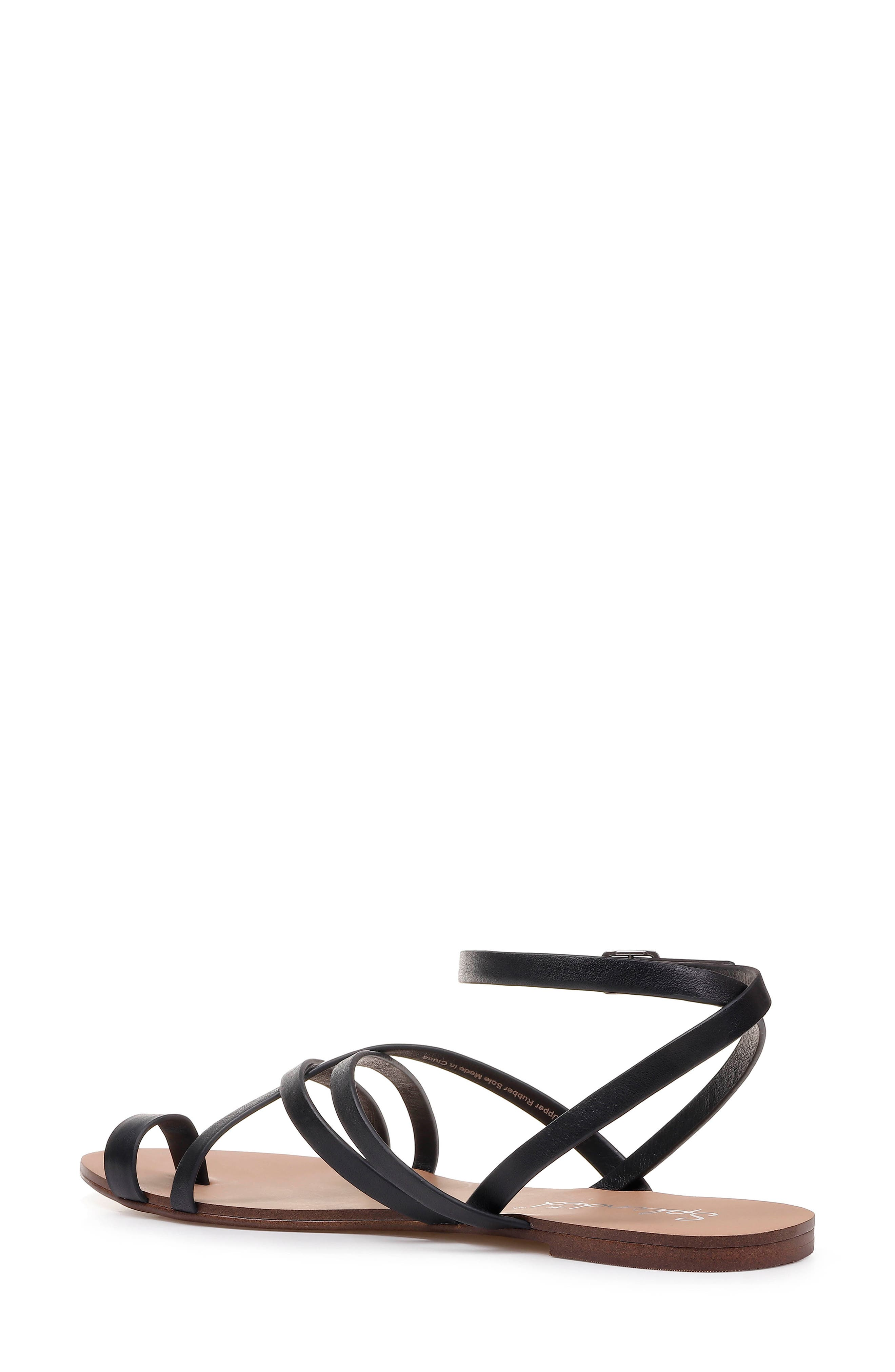 Sully Strappy Toe Loop Sandal,                             Alternate thumbnail 2, color,                             BLACK LEATHER