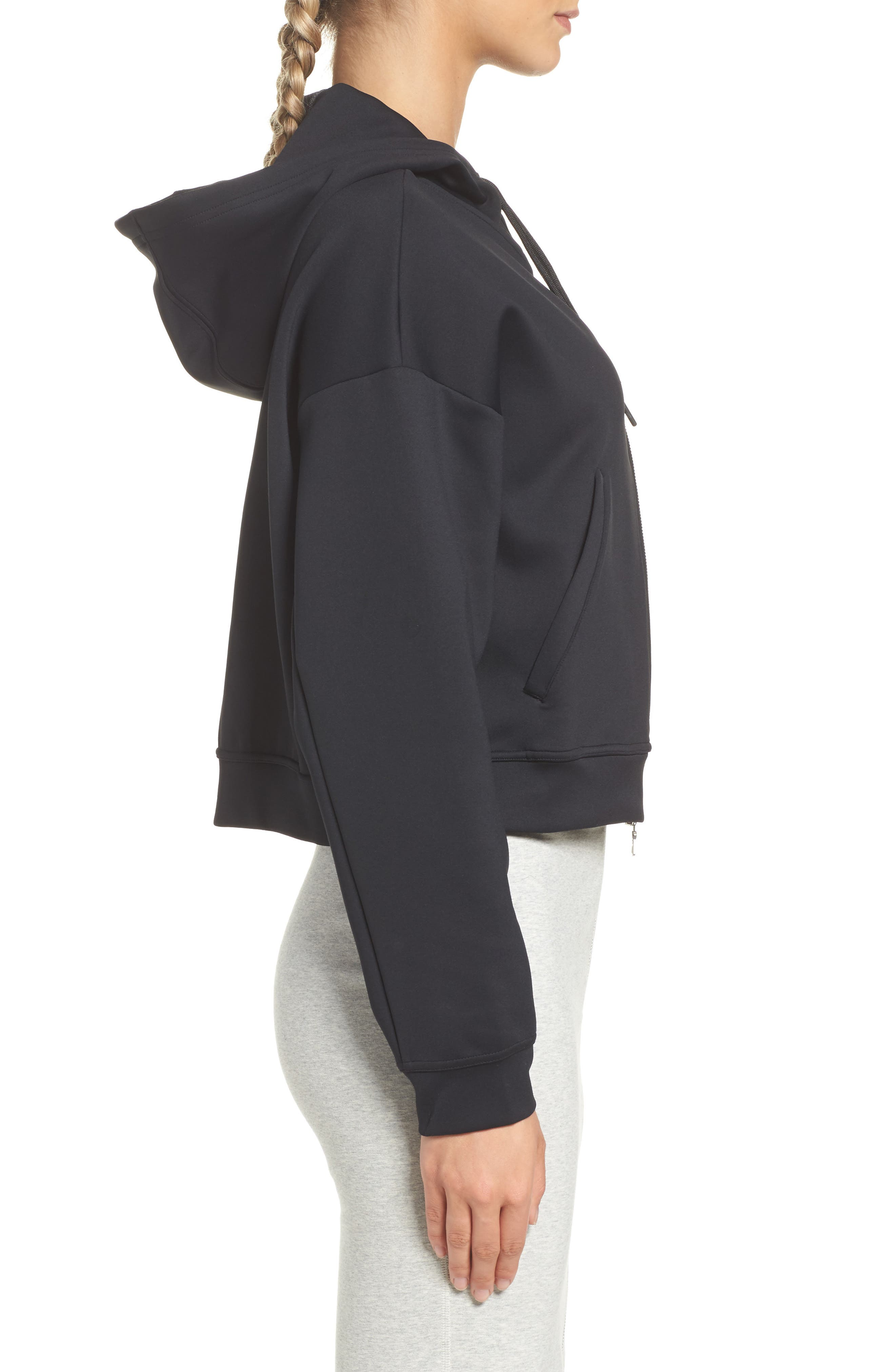 Essential Cropped Hoodie,                             Alternate thumbnail 3, color,                             010
