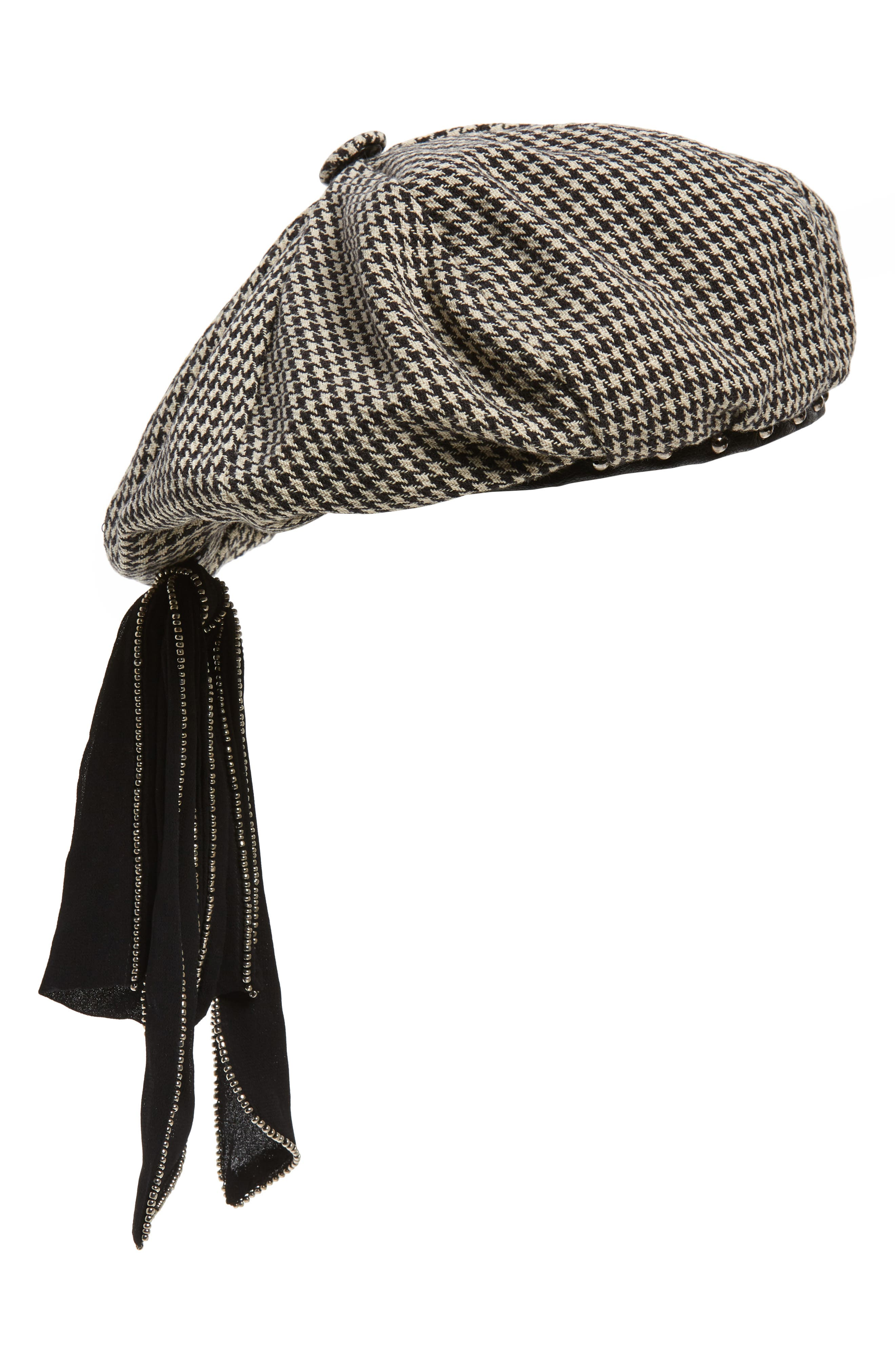 NEW FRIENDS COLONY Houndstooth Studded Beret - Black in Ivory/ Black Houndstooth