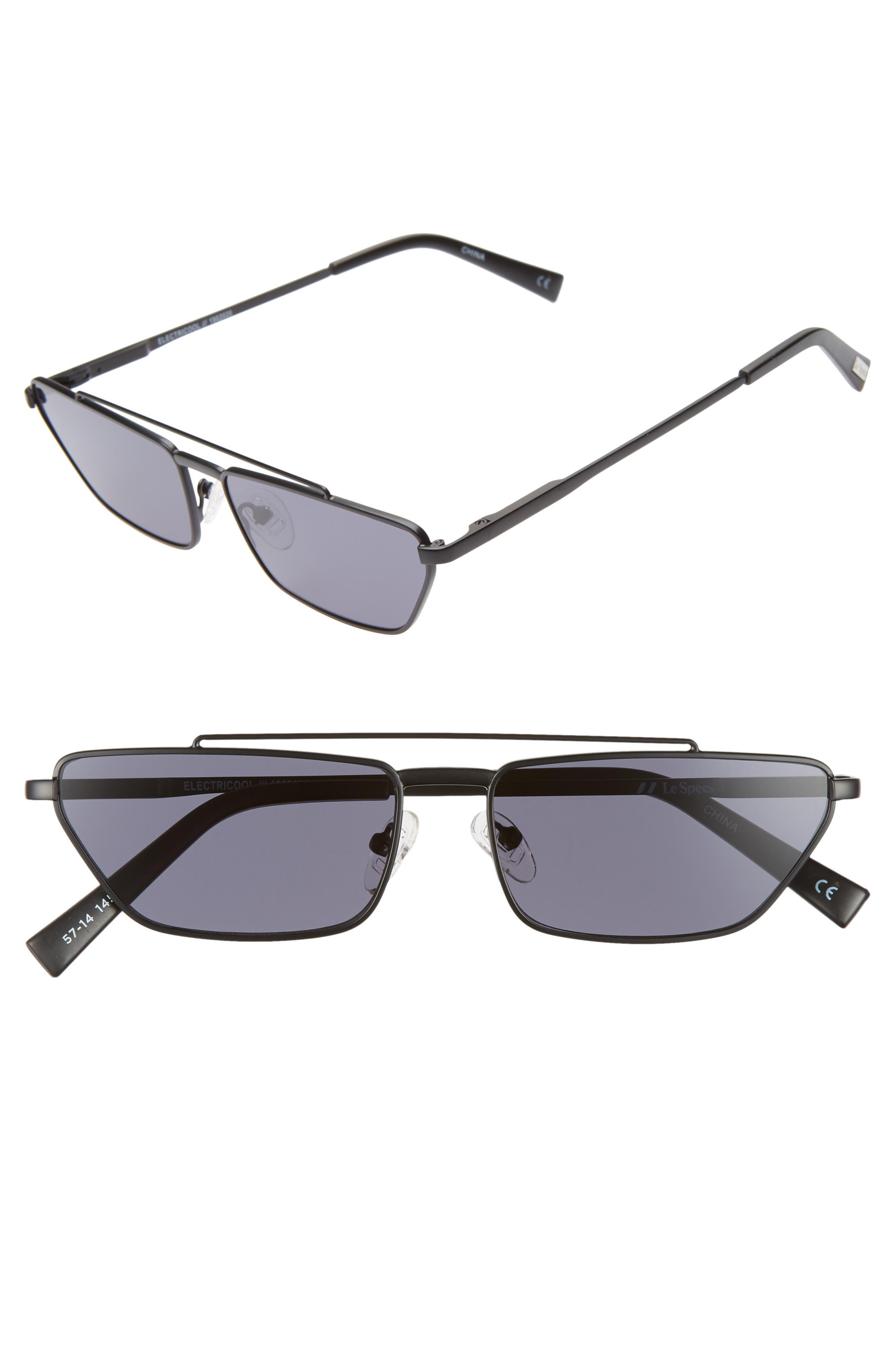 Le Specs Electricool 57Mm Cat Eye Aviator Sunglasses - Matte Black/ Smoke