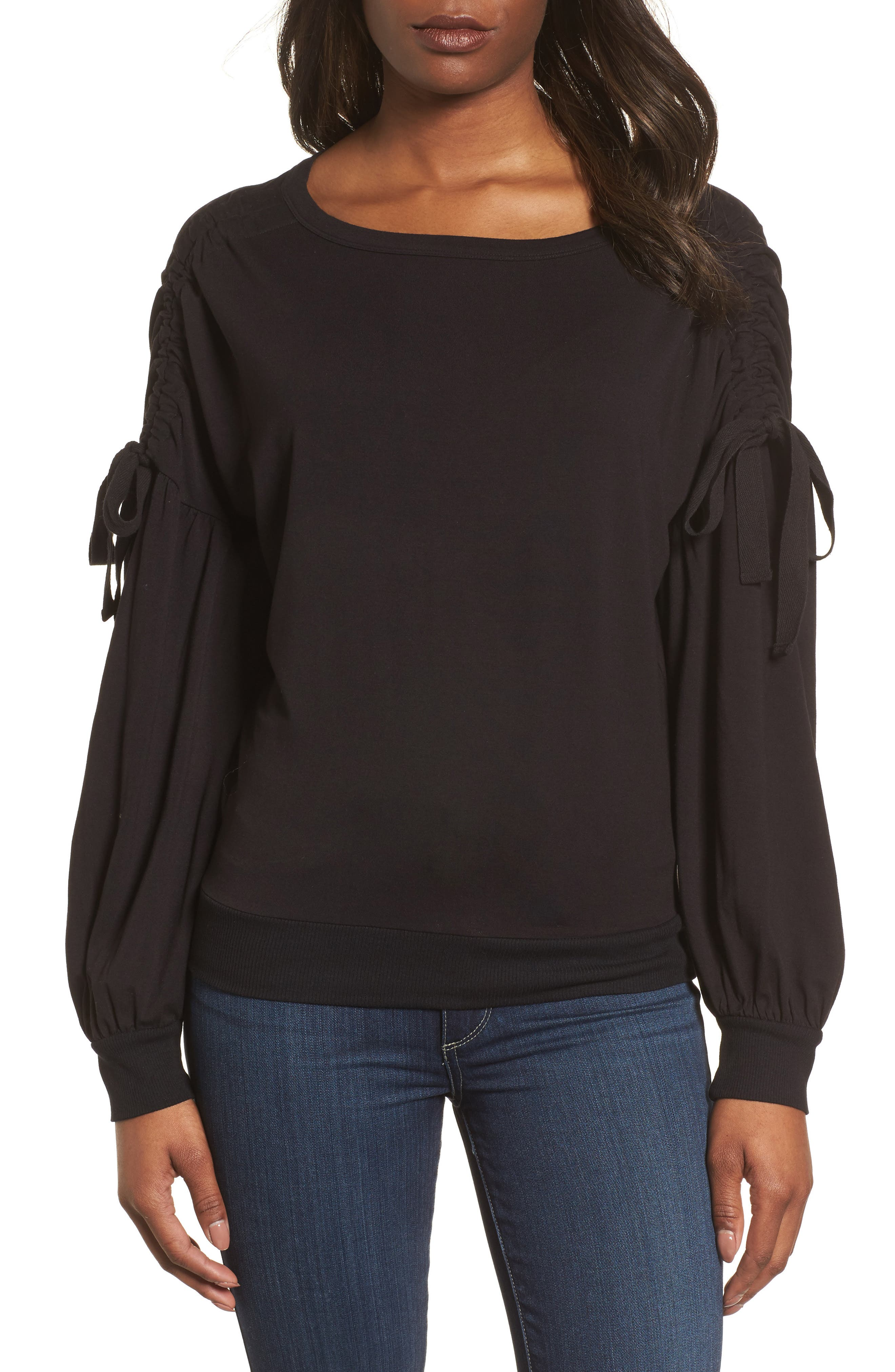 Ruched Bow Sleeve Top,                             Main thumbnail 1, color,