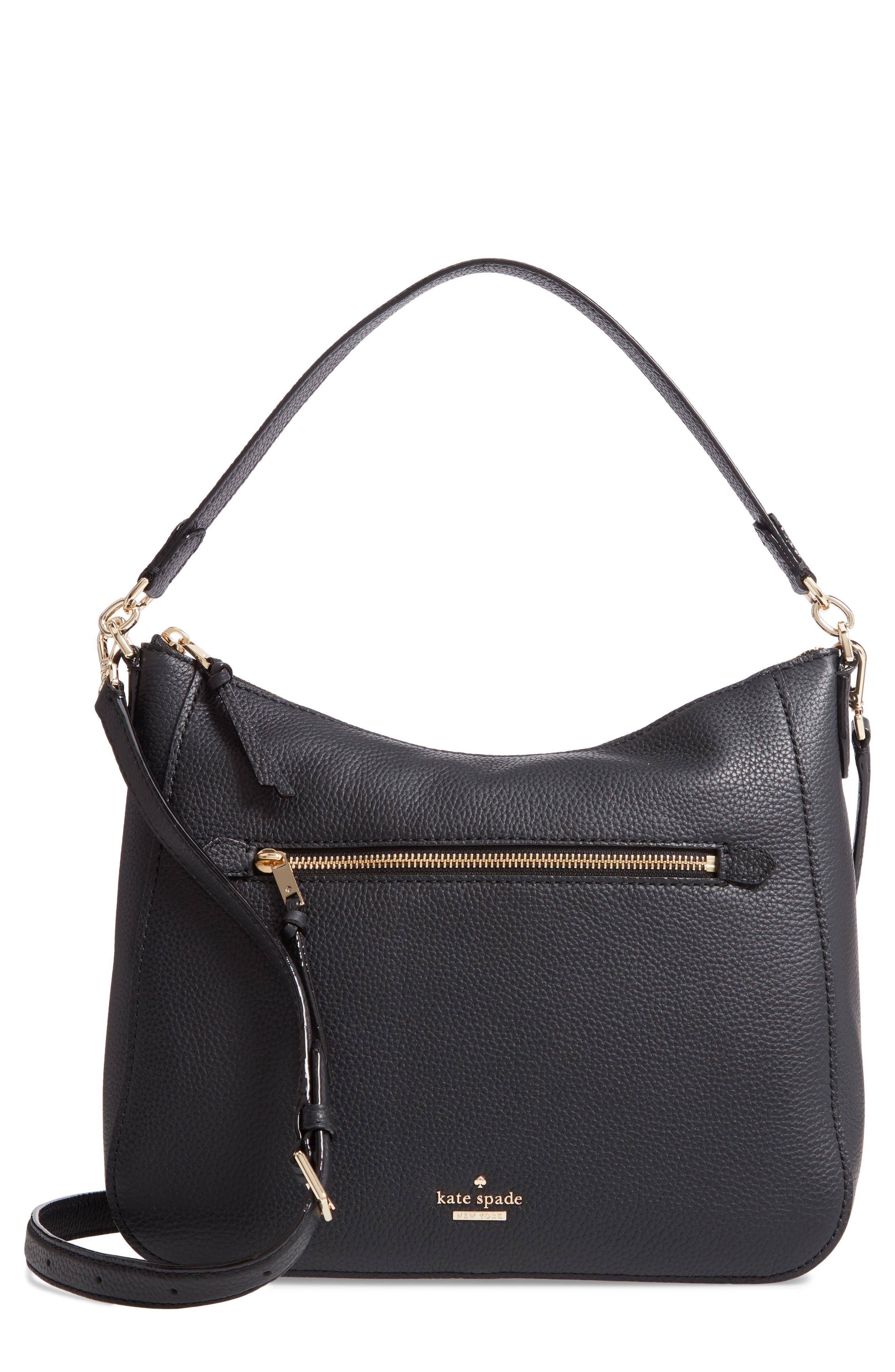 jackson street - quincy leather hobo,                         Main,                         color, BLACK