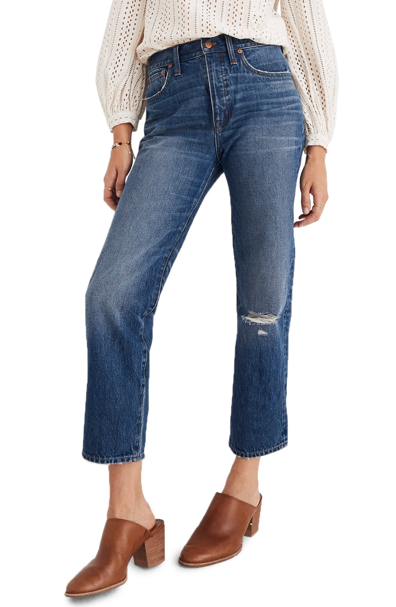 Ripped Knee Classic Straight Jeans by Madewell