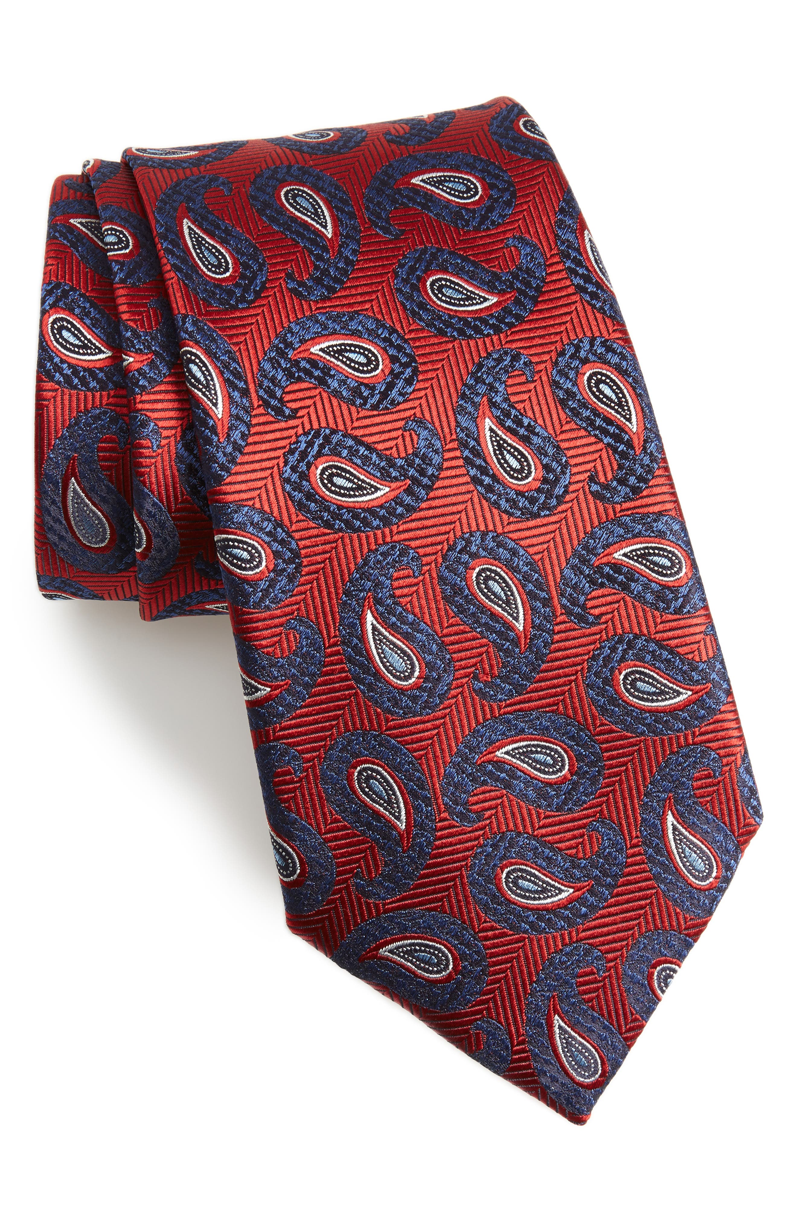 Paisley Silk Tie,                             Main thumbnail 1, color,                             RED