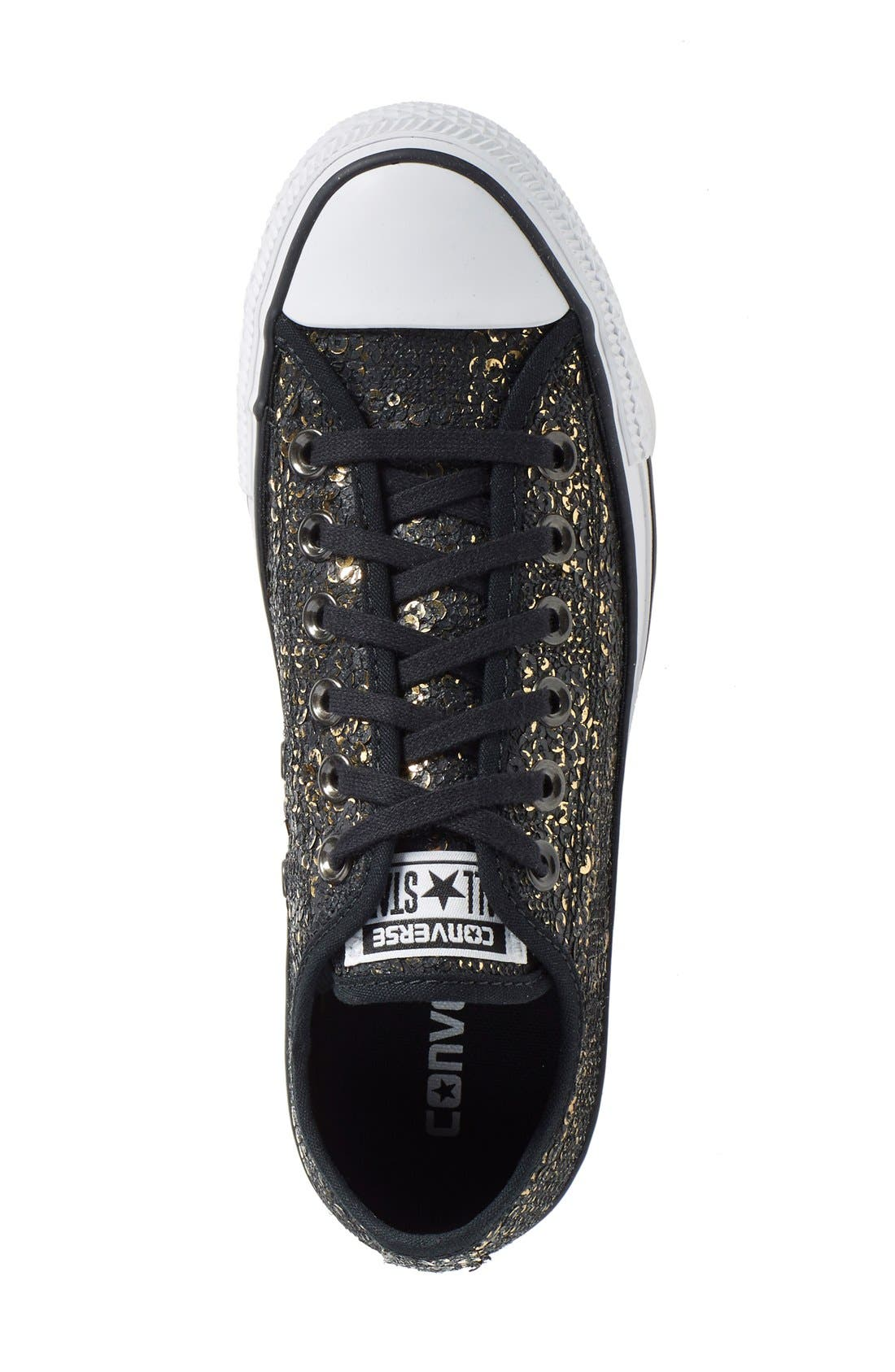 Chuck Taylor<sup>®</sup> All Star<sup>®</sup> 'Distressed Sequin Ox' Sneaker,                             Alternate thumbnail 2, color,                             001