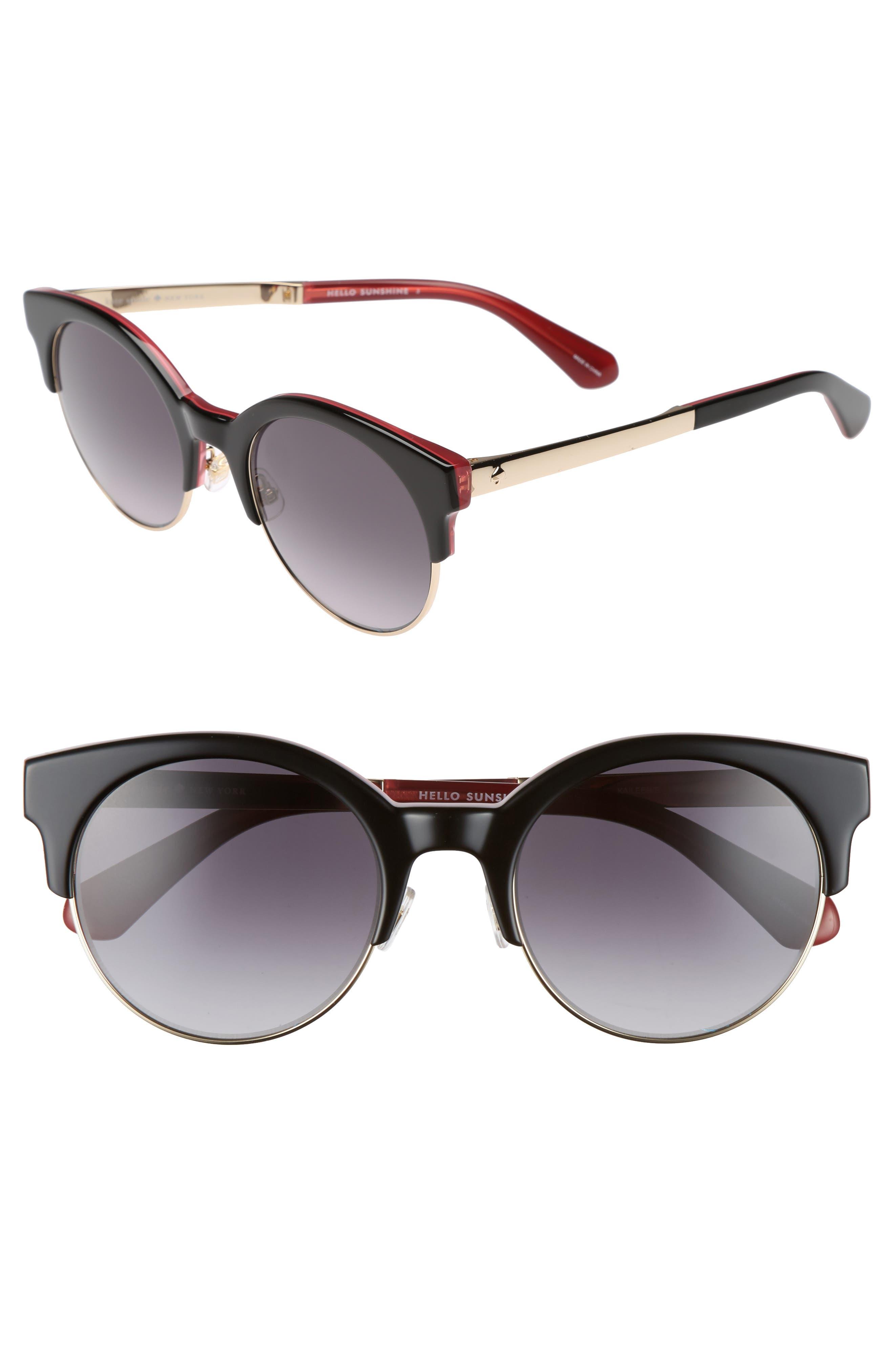 kaileen 52mm semi-rimless cat eye sunglasses,                         Main,                         color, 001