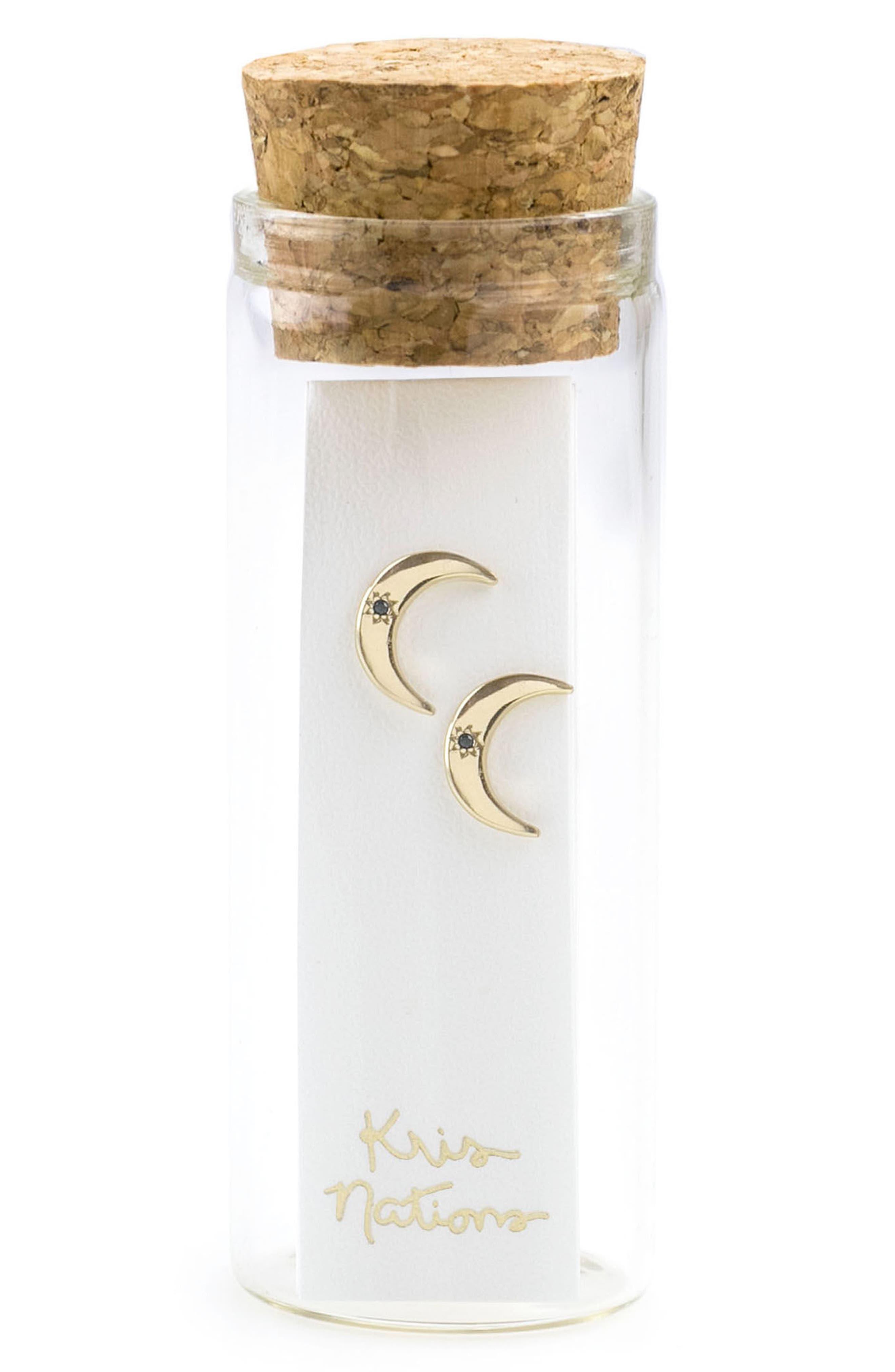 Crescent Moon Stone Stud Earrings,                             Alternate thumbnail 3, color,
