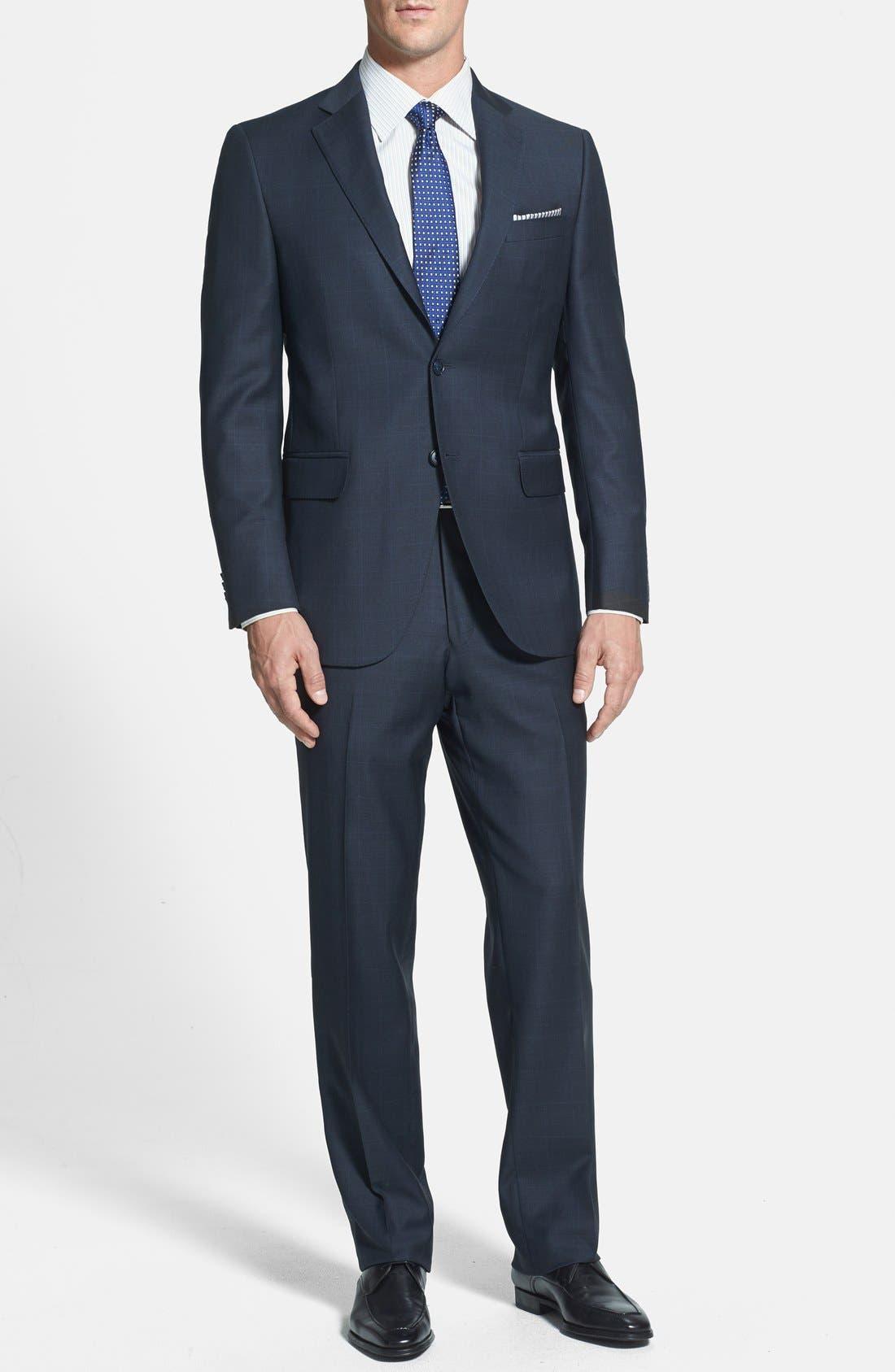 PETER MILLAR Classic Fit Navy Windowpane Suit, Main, color, 410