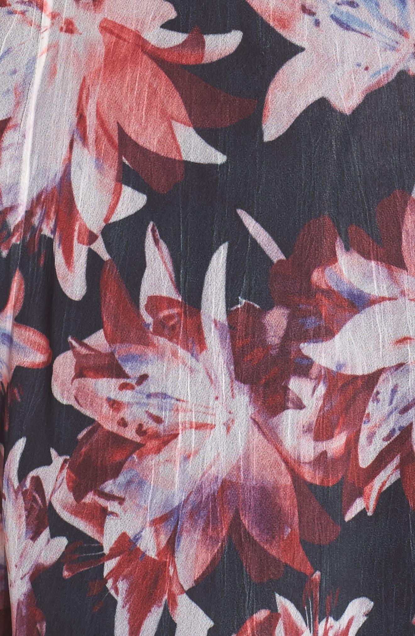 Print Chiffon A-Line Dress,                             Alternate thumbnail 5, color,                             007