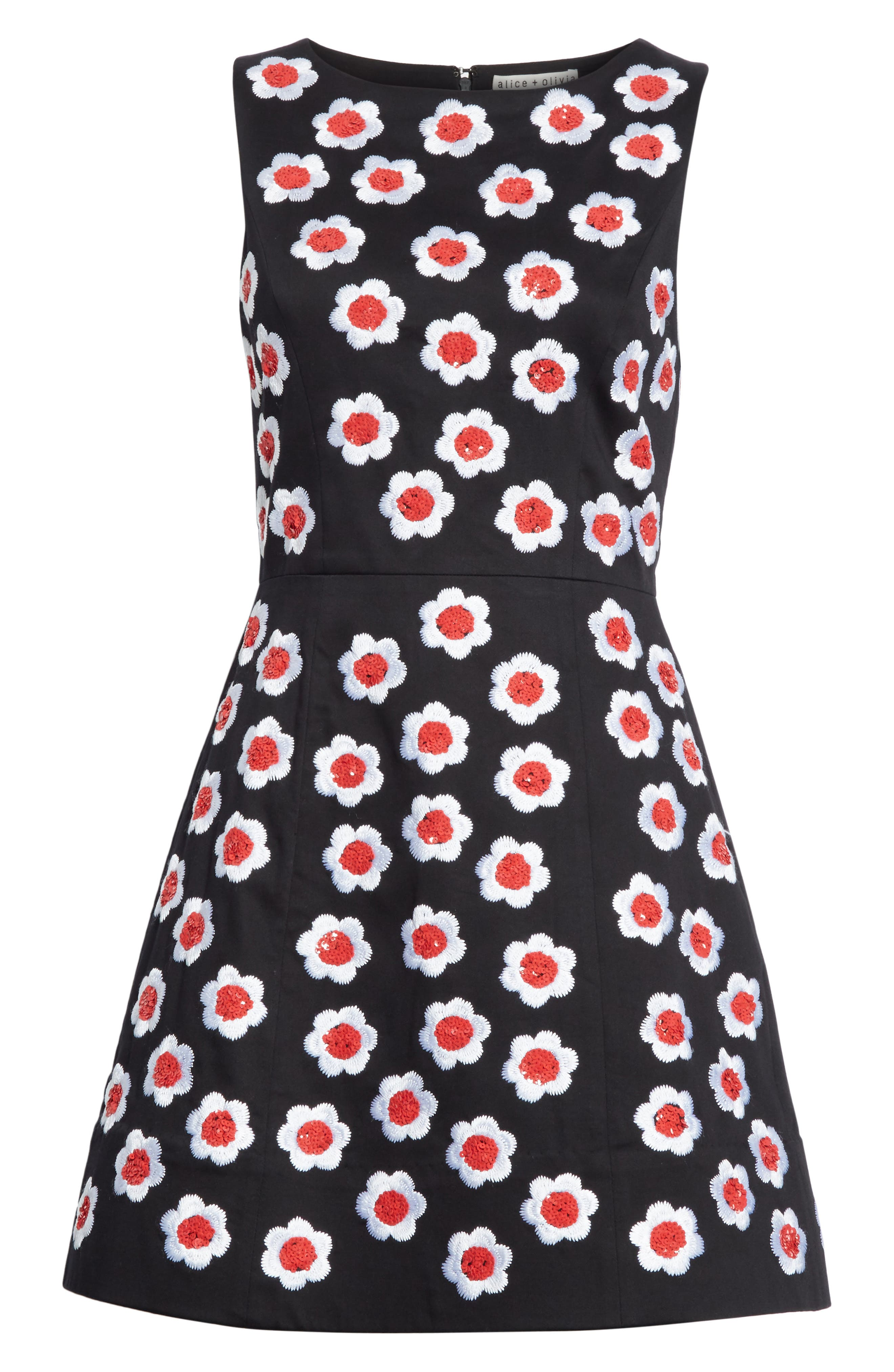 Lindsey Embroidered A-Line Dress,                             Alternate thumbnail 6, color,                             019