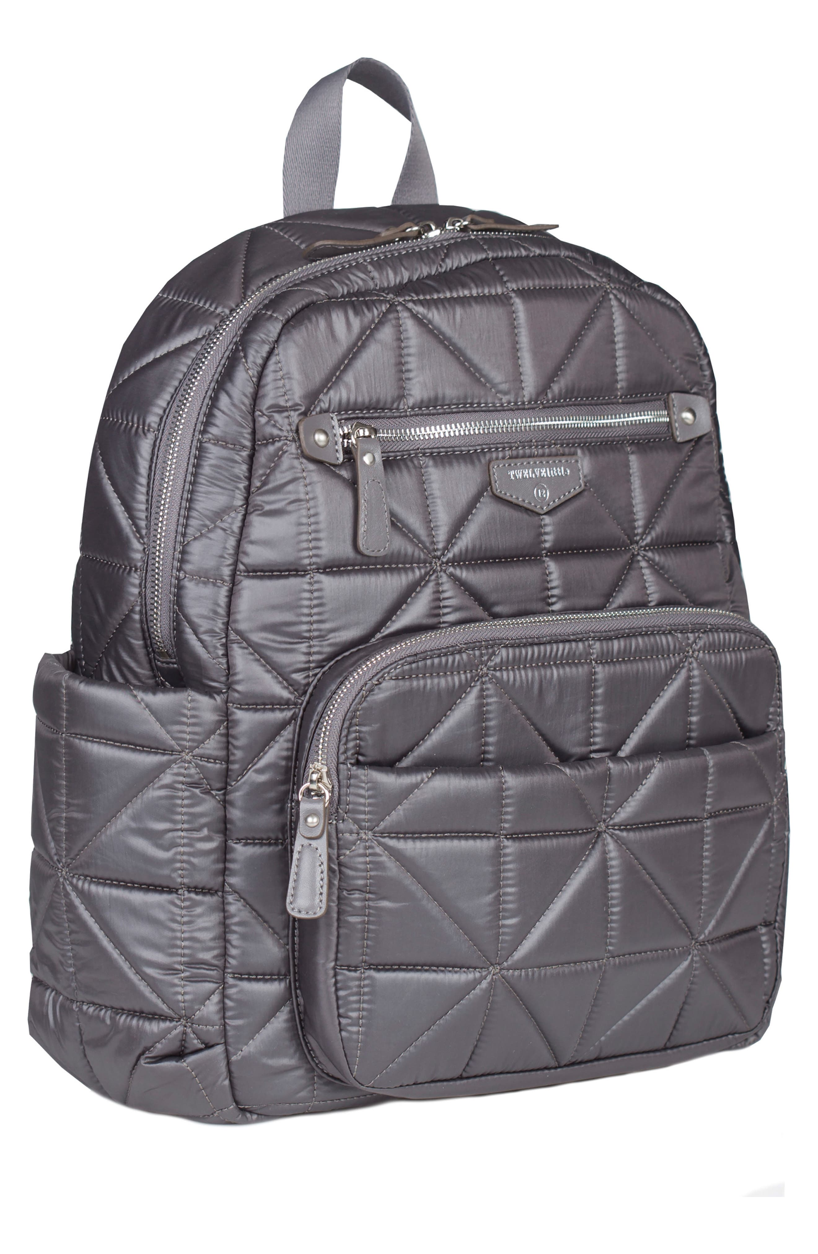 Companion Quilted Nylon Diaper Backpack,                             Alternate thumbnail 4, color,                             PLATINUM