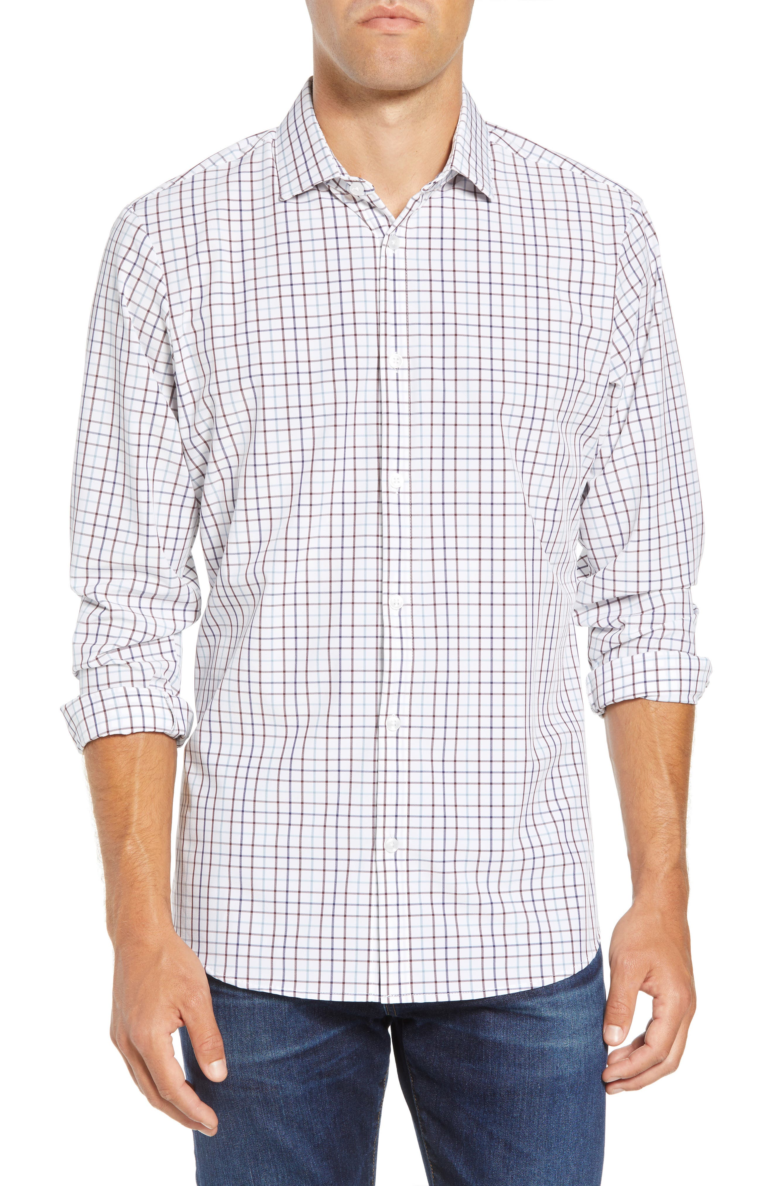 Ward Regular Fit Multi Check Performance Sport Shirt,                             Main thumbnail 1, color,                             WHITE