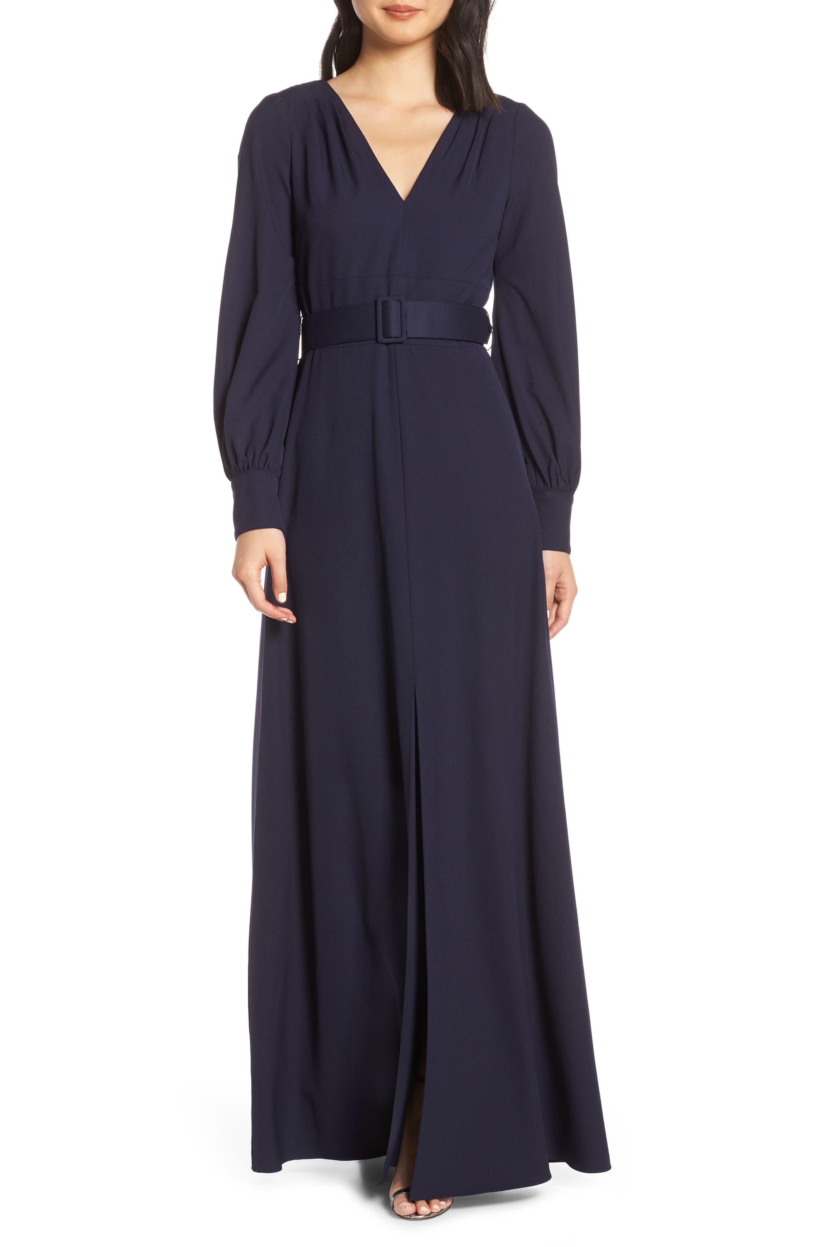 Eliza J Long Sleeve Belted Gown, Blue