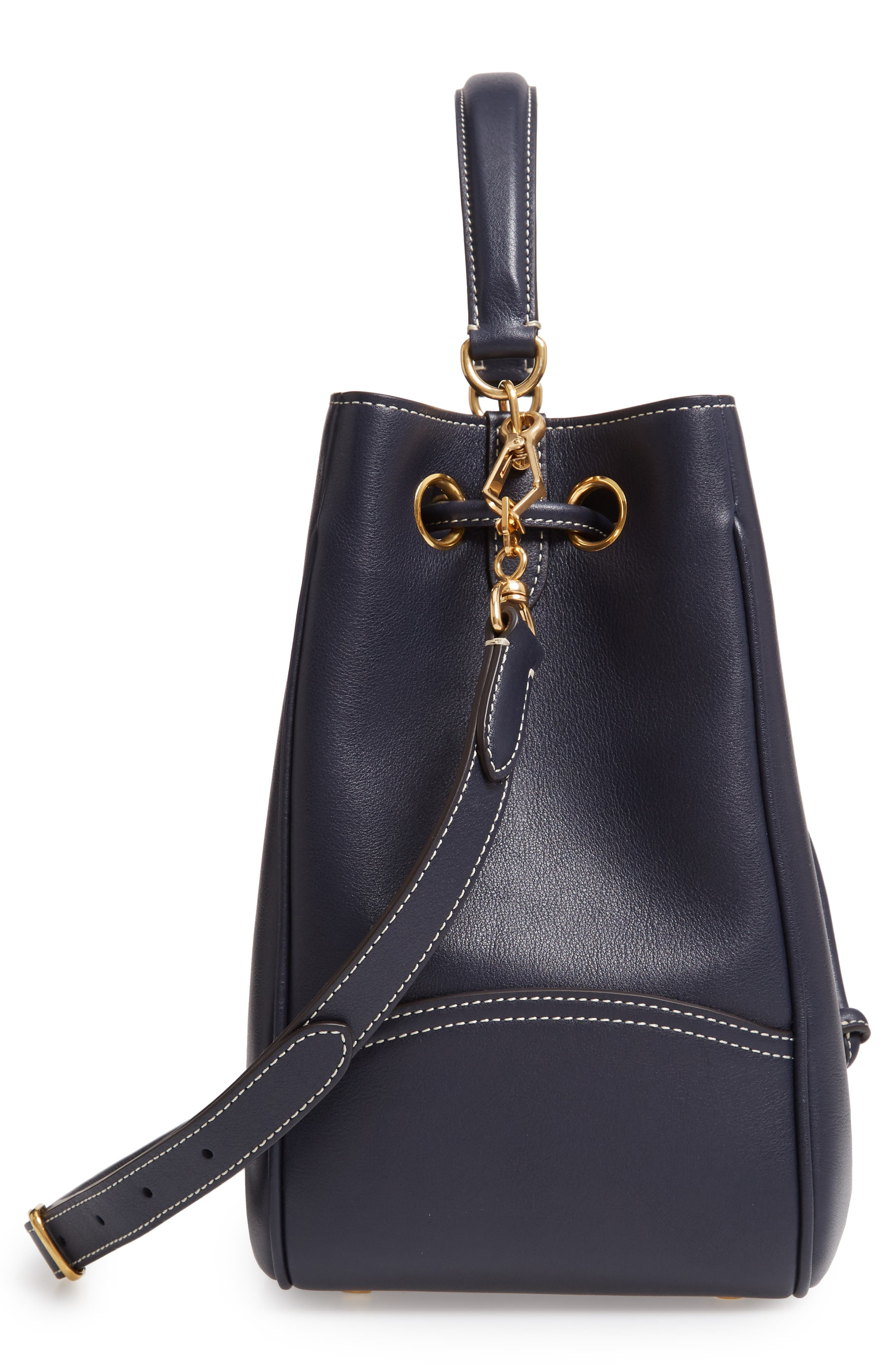 MULBERRY,                             Hampstead Silky Calfskin Leather Bucket Bag,                             Alternate thumbnail 5, color,                             MIDNIGHT
