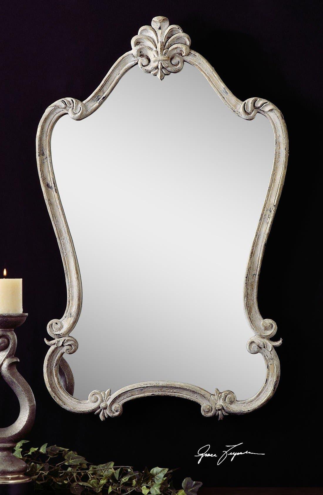 'Walton Hall' Antique White Vanity Mirror,                             Alternate thumbnail 3, color,                             100