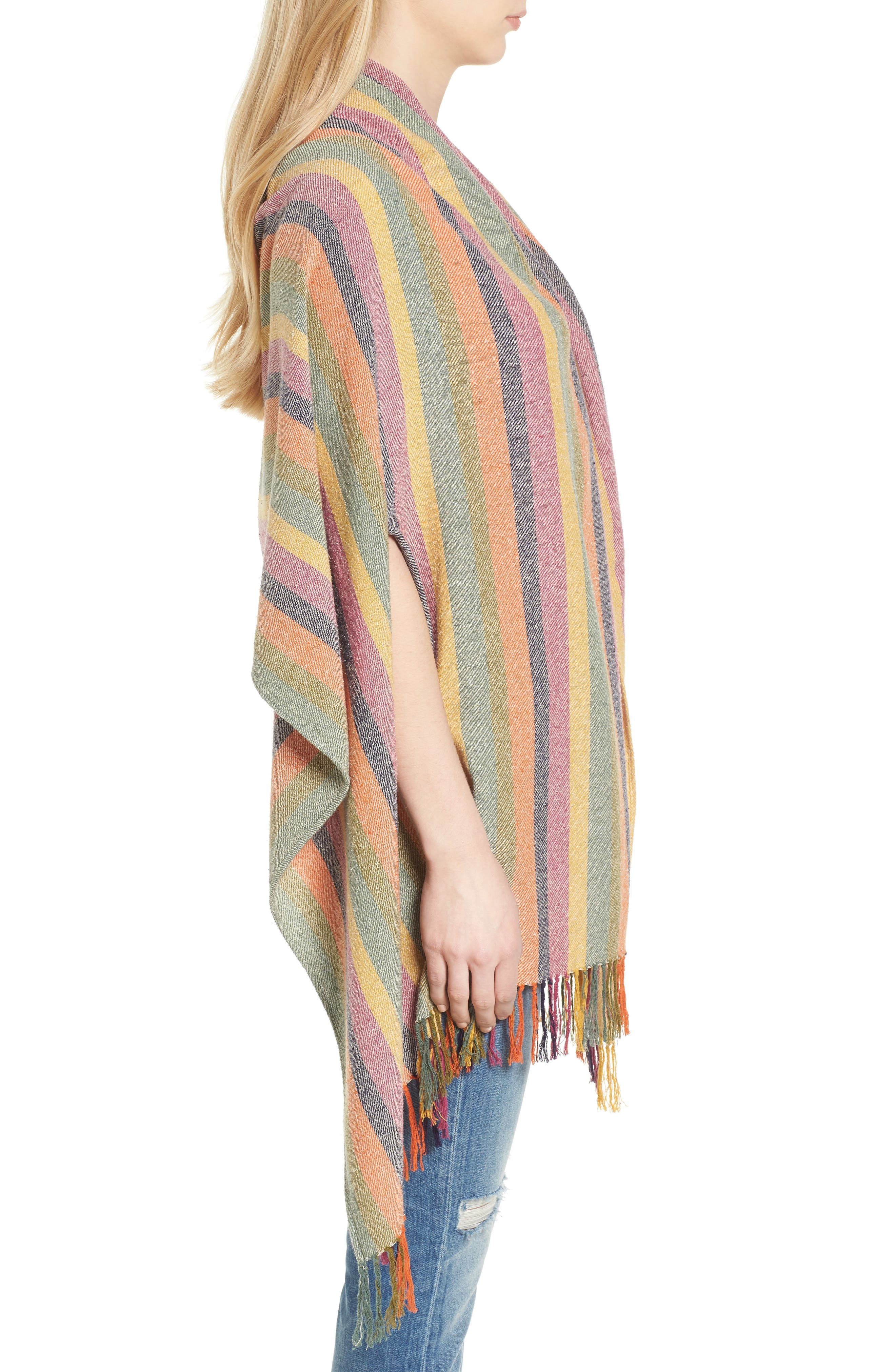Rainbow Stripe Silk & Cotton Cape Scarf,                             Alternate thumbnail 3, color,                             650