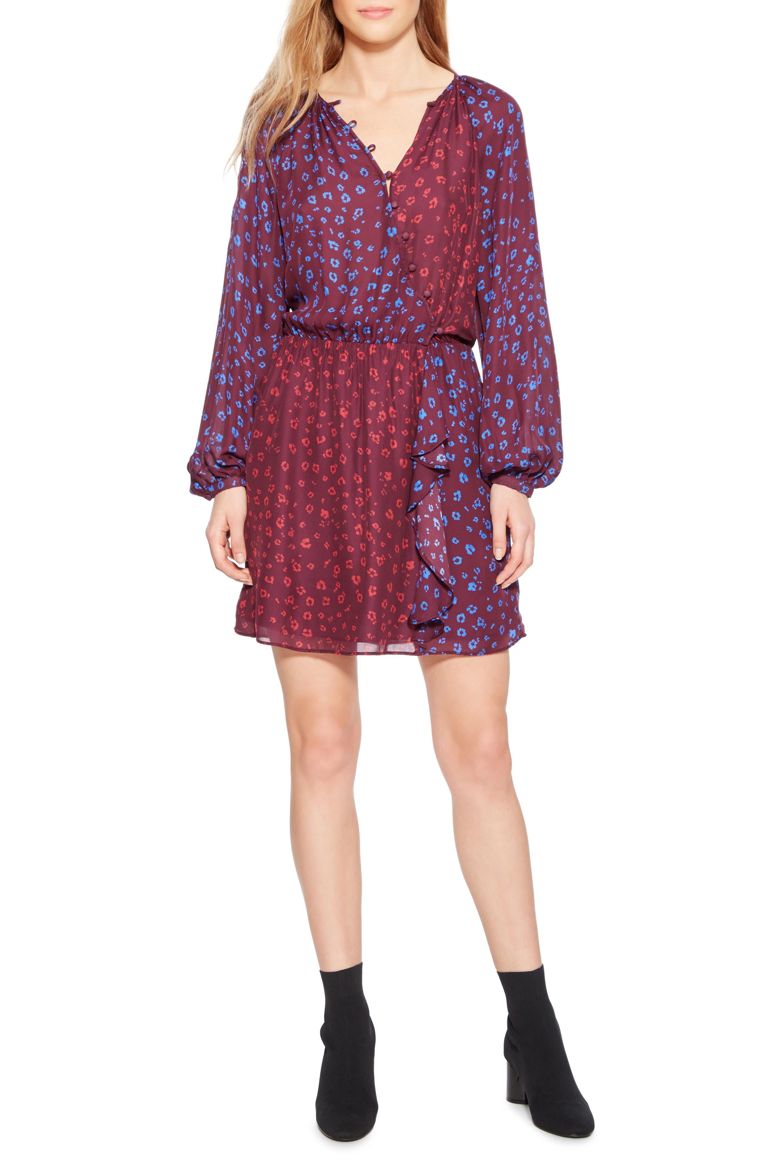 Shai Combo Minidress,                         Main,                         color, COBALT LEOPARD