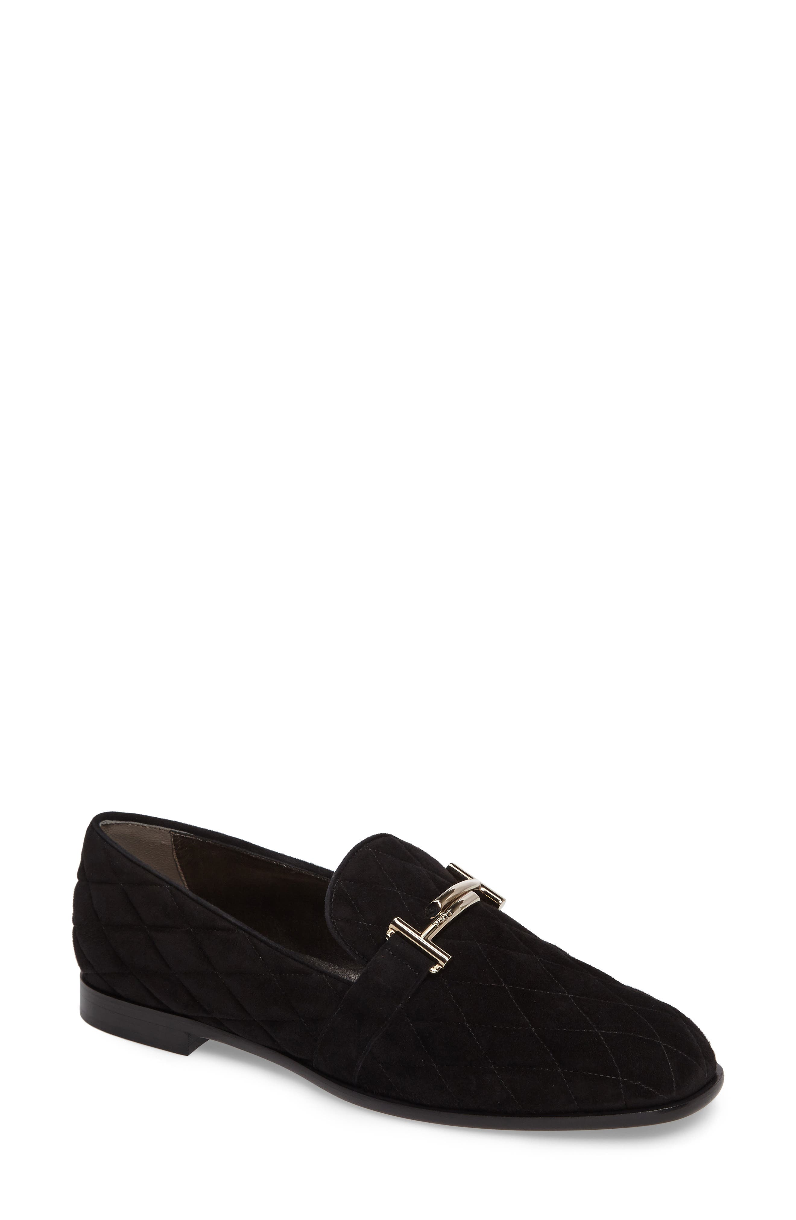Quilted Double T Loafer,                             Main thumbnail 1, color,                             001