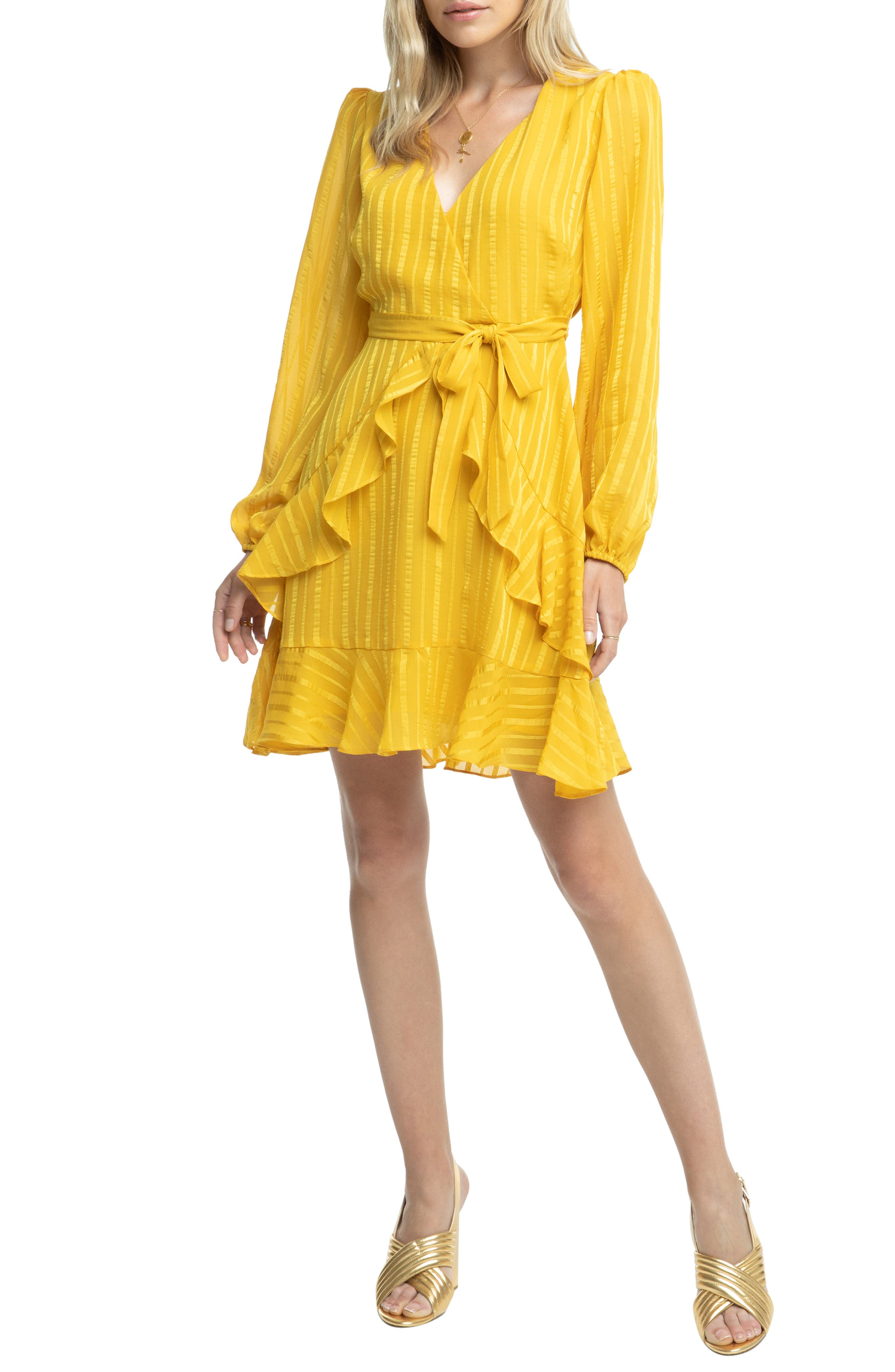 Astr The Label Ruffle Front Dress, Yellow