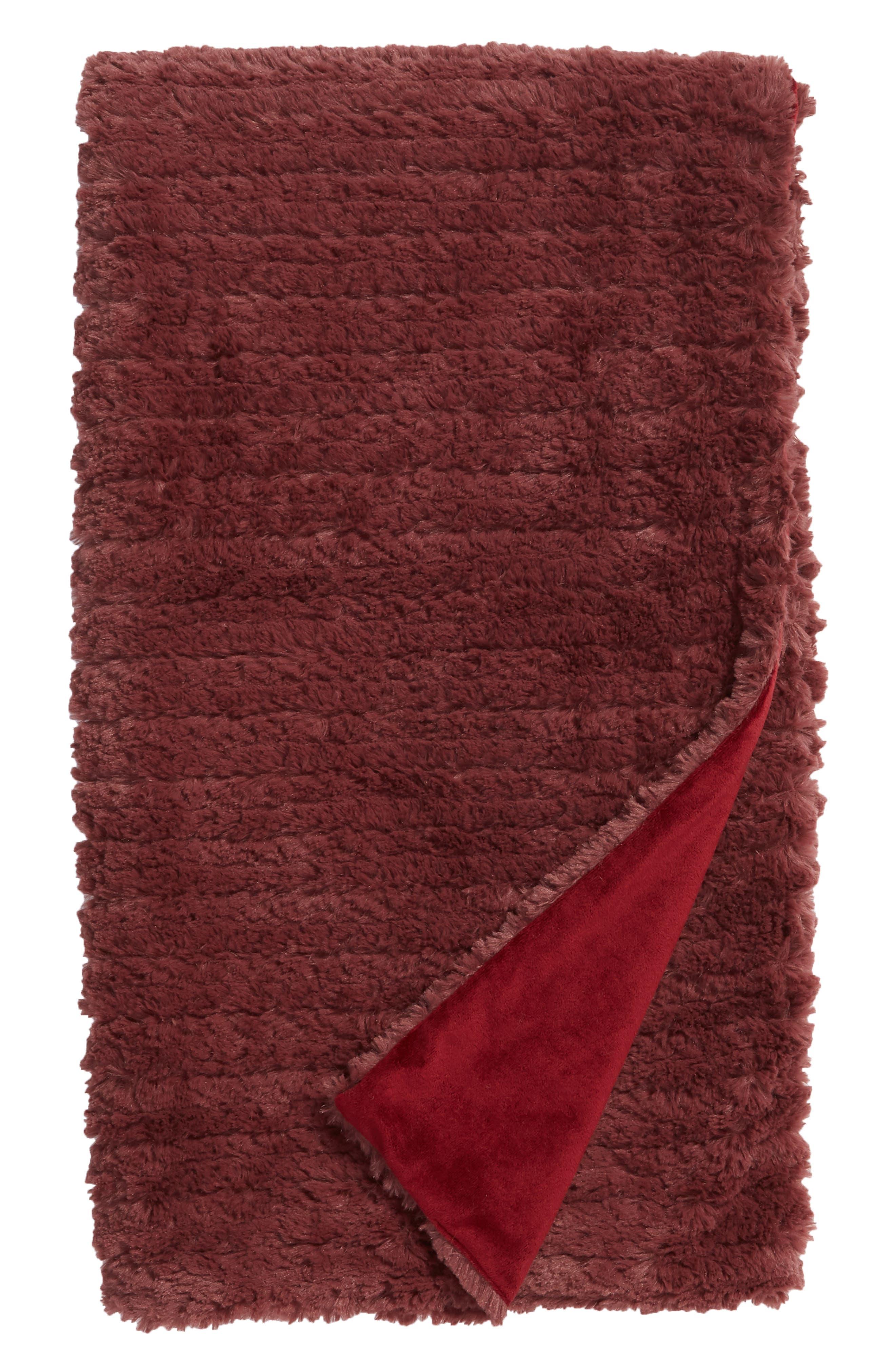 NORDSTROM AT HOME Faux Fur Throw Blanket, Main, color, BURGUNDY GINGER