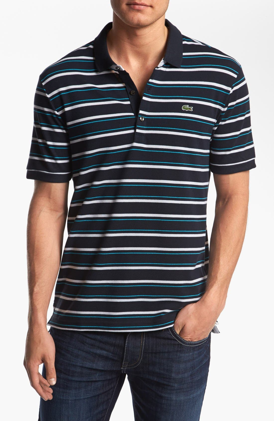 Stripe Piqué Polo,                         Main,                         color, 409