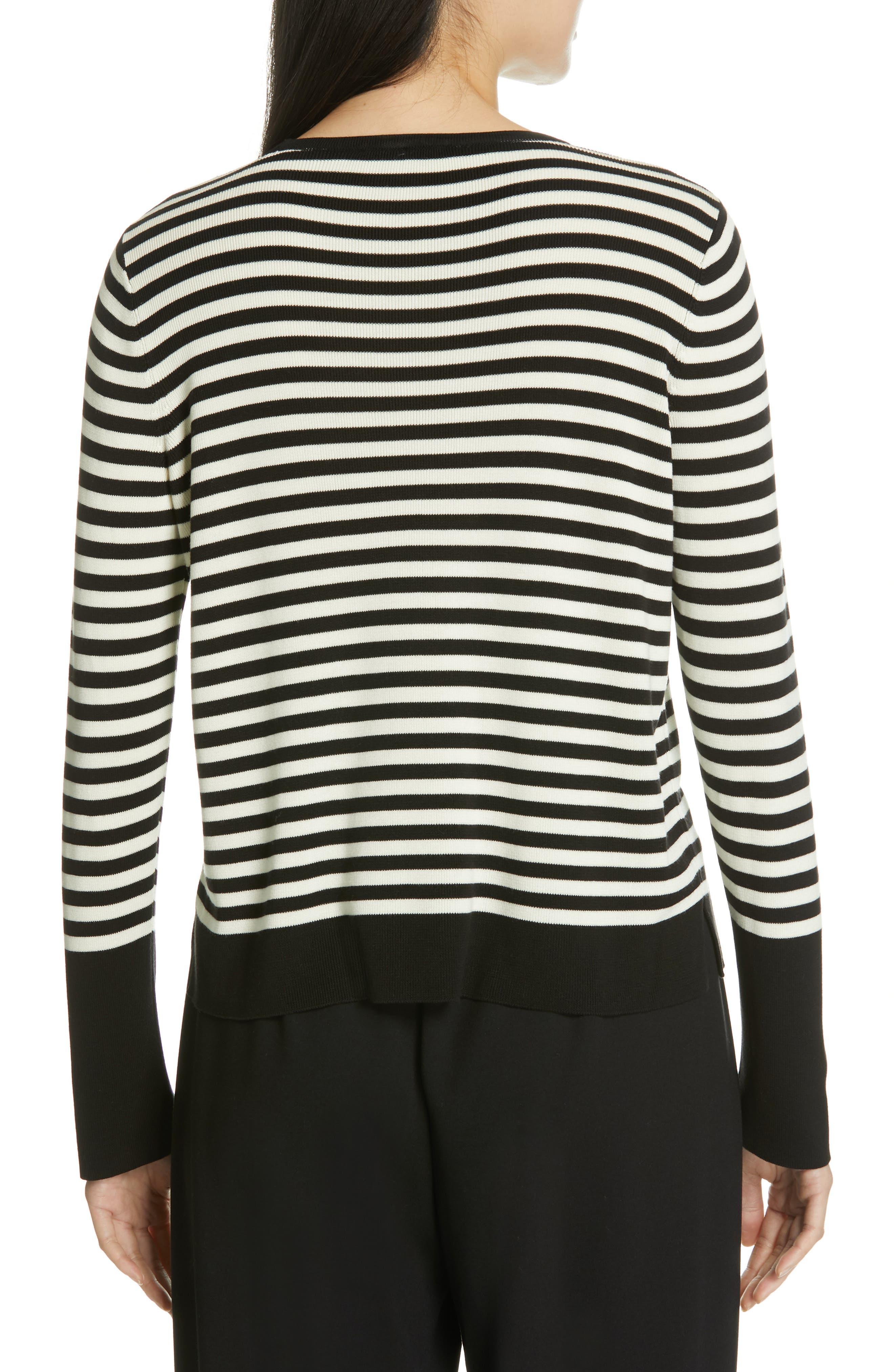 Tencel<sup>®</sup> Lyocell & Silk Sweater,                             Alternate thumbnail 2, color,                             BLACK/ SOFT WHITE