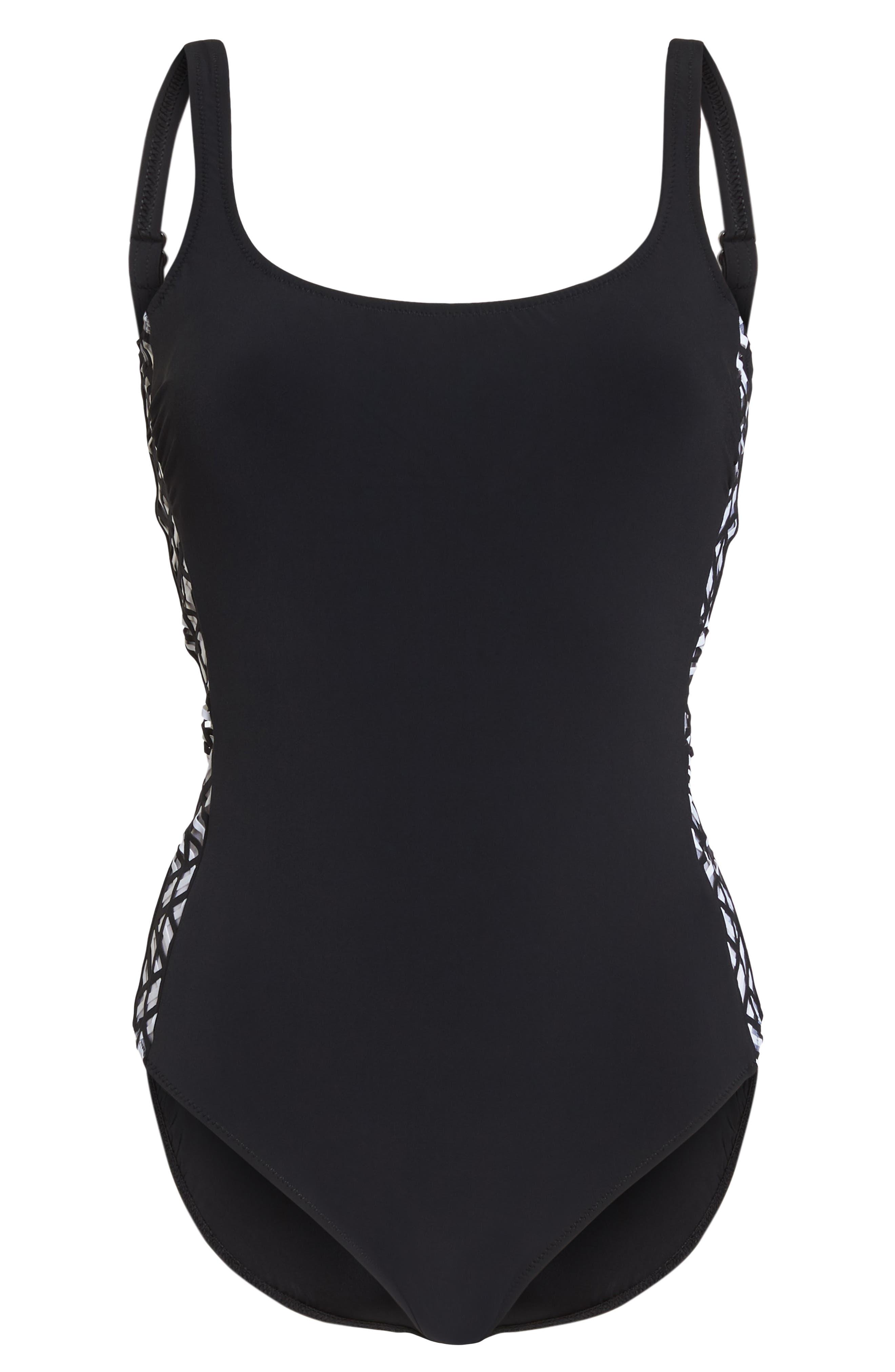 Round Neck One-Piece Swimsuit,                             Alternate thumbnail 6, color,                             BLACK
