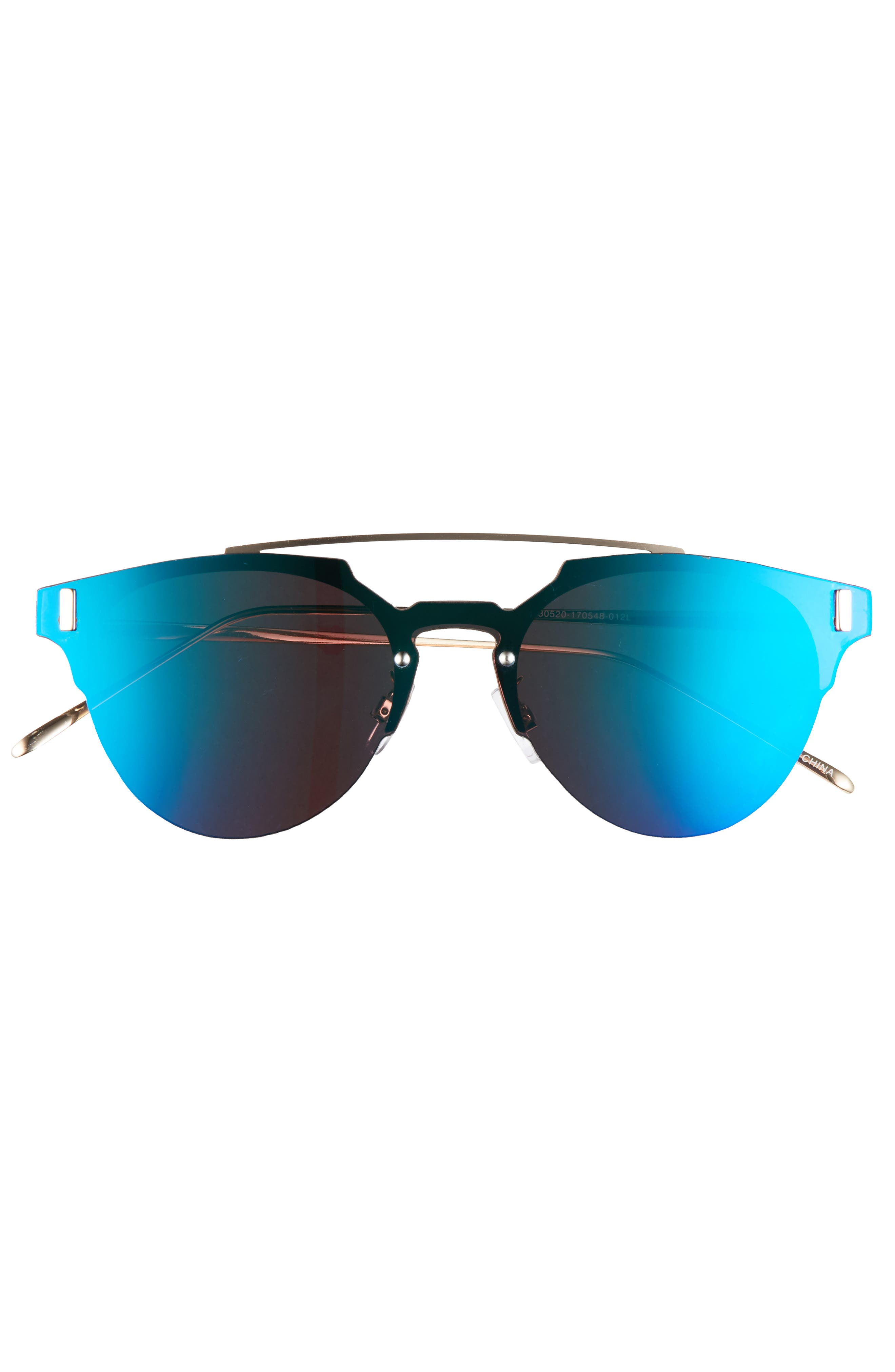 50mm Mirrored Round Sunglasses,                             Alternate thumbnail 3, color,                             400