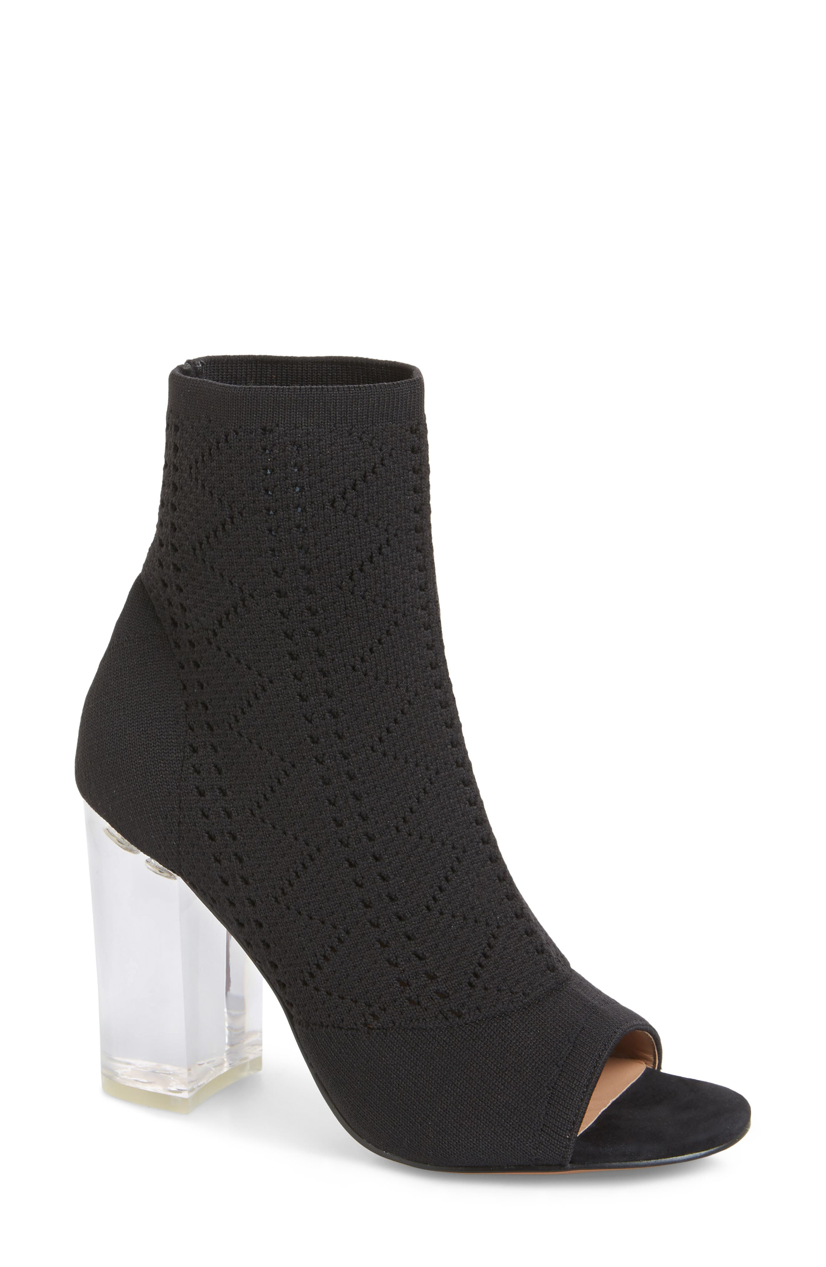 Hollis Peep Toe Sock Bootie,                             Main thumbnail 1, color,                             BLACK FABRIC