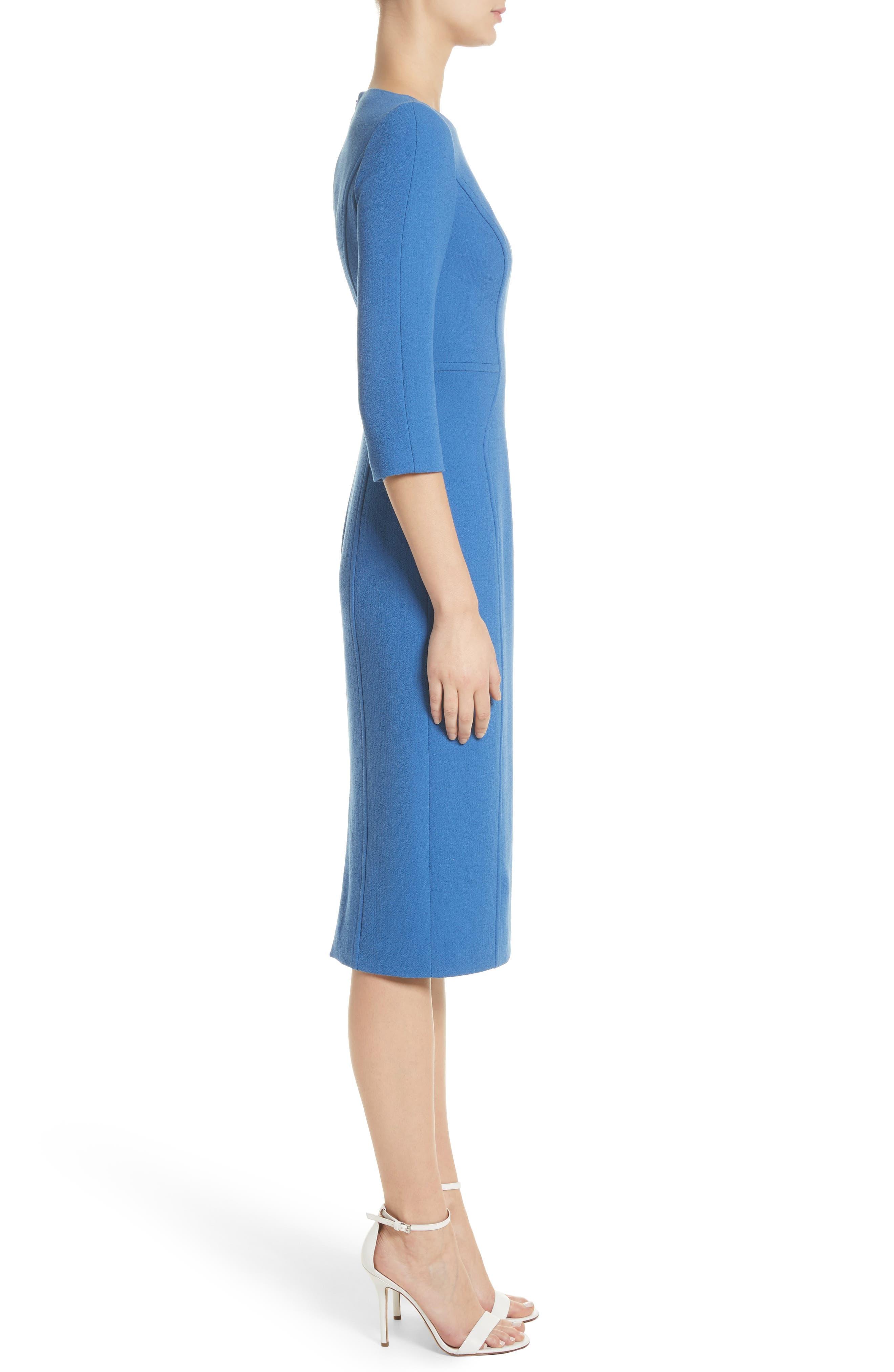 Stretch Wool Sheath Dress,                             Alternate thumbnail 3, color,