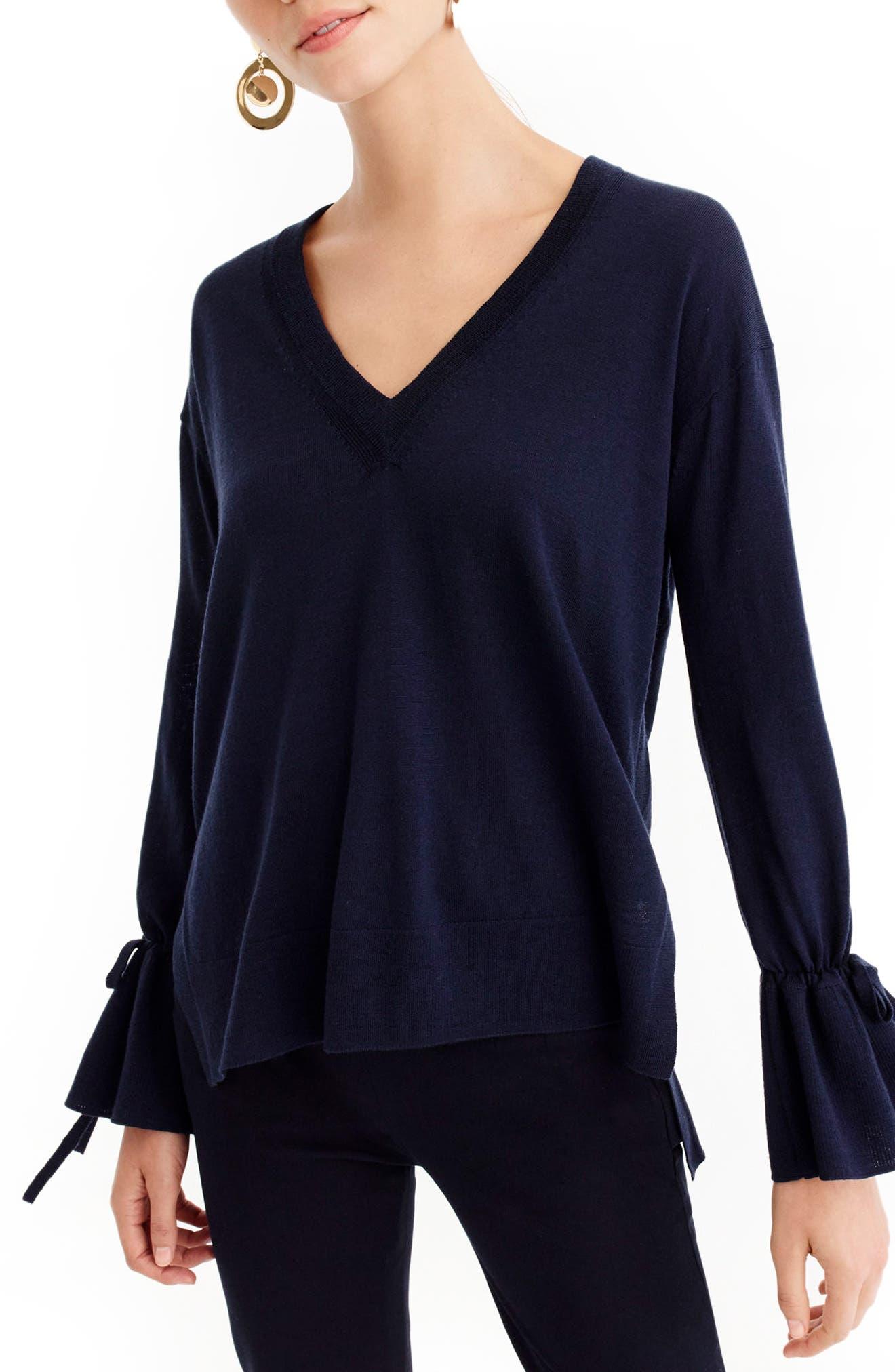 Drawstring Sleeve V-Neck Merino Wool Sweater,                             Main thumbnail 1, color,                             400