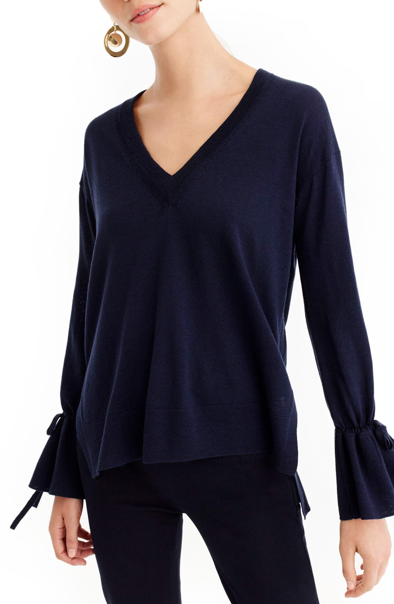 Drawstring Sleeve V-Neck Merino Wool Sweater,                         Main,                         color, 400