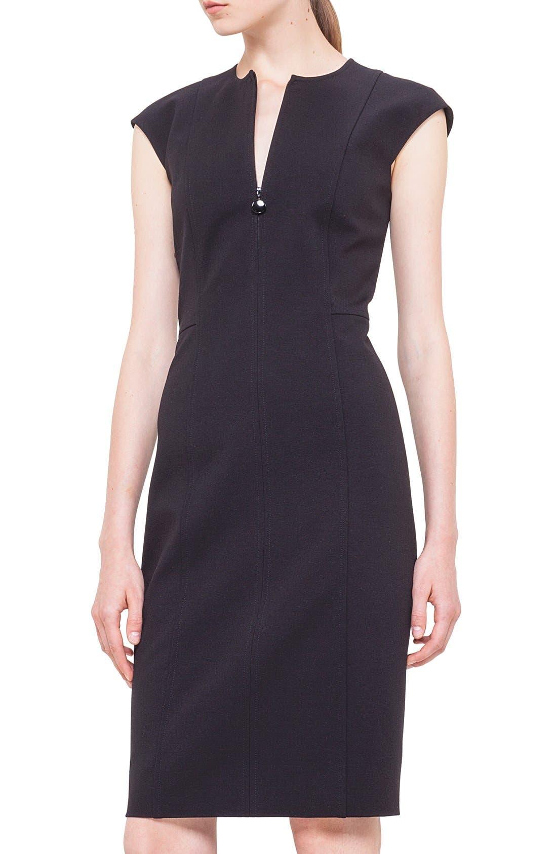 Cap Sleeve Sheath Dress,                             Alternate thumbnail 6, color,                             BLACK