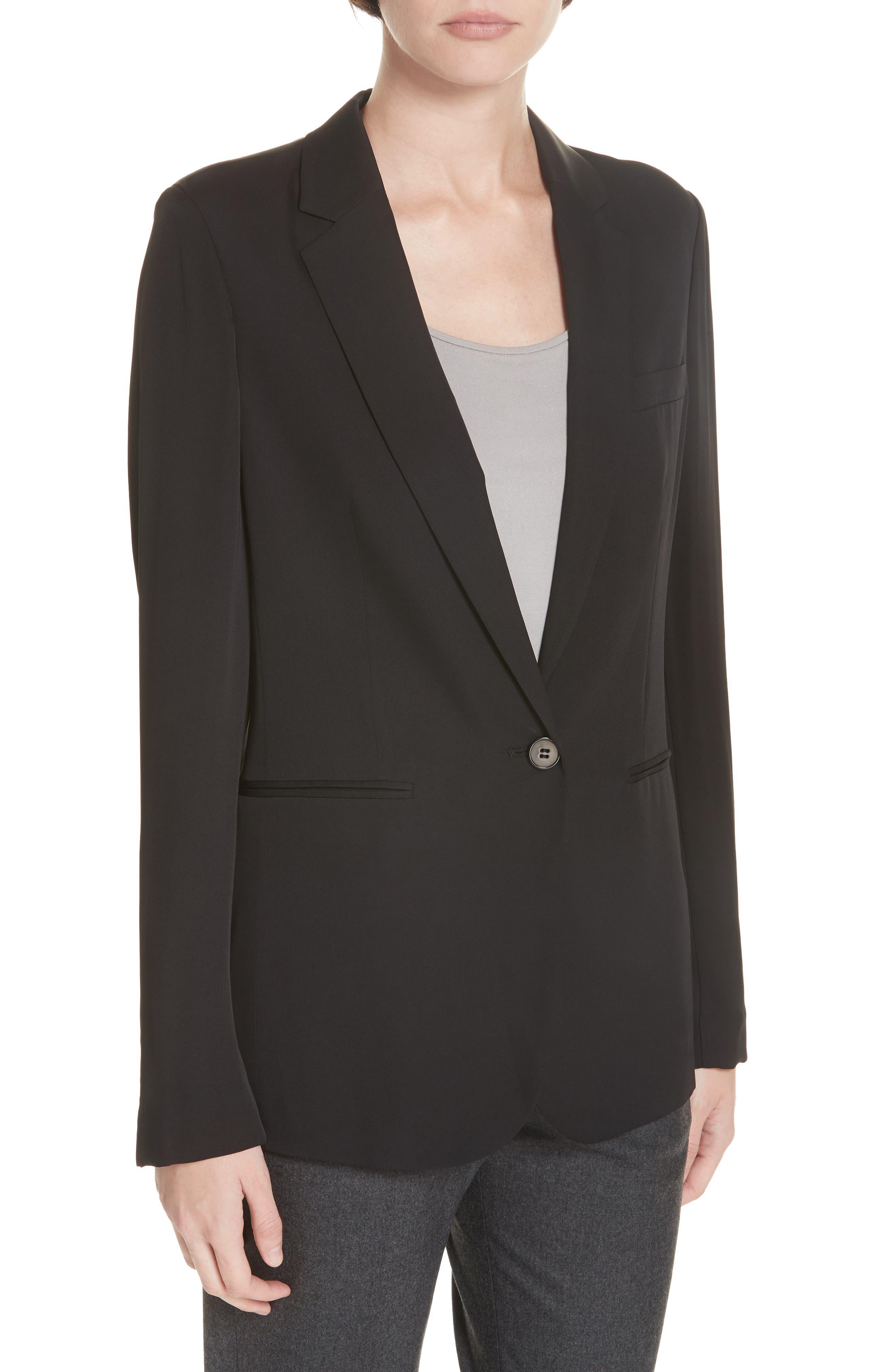 Grinson Silk Suit Jacket,                             Alternate thumbnail 4, color,                             001