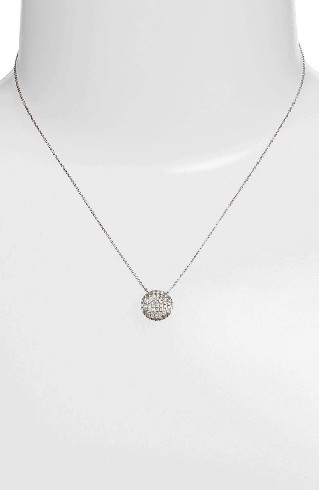 'Lauren Joy' Diamond Disc Pendant Necklace,                             Alternate thumbnail 2, color,                             WHITE GOLD