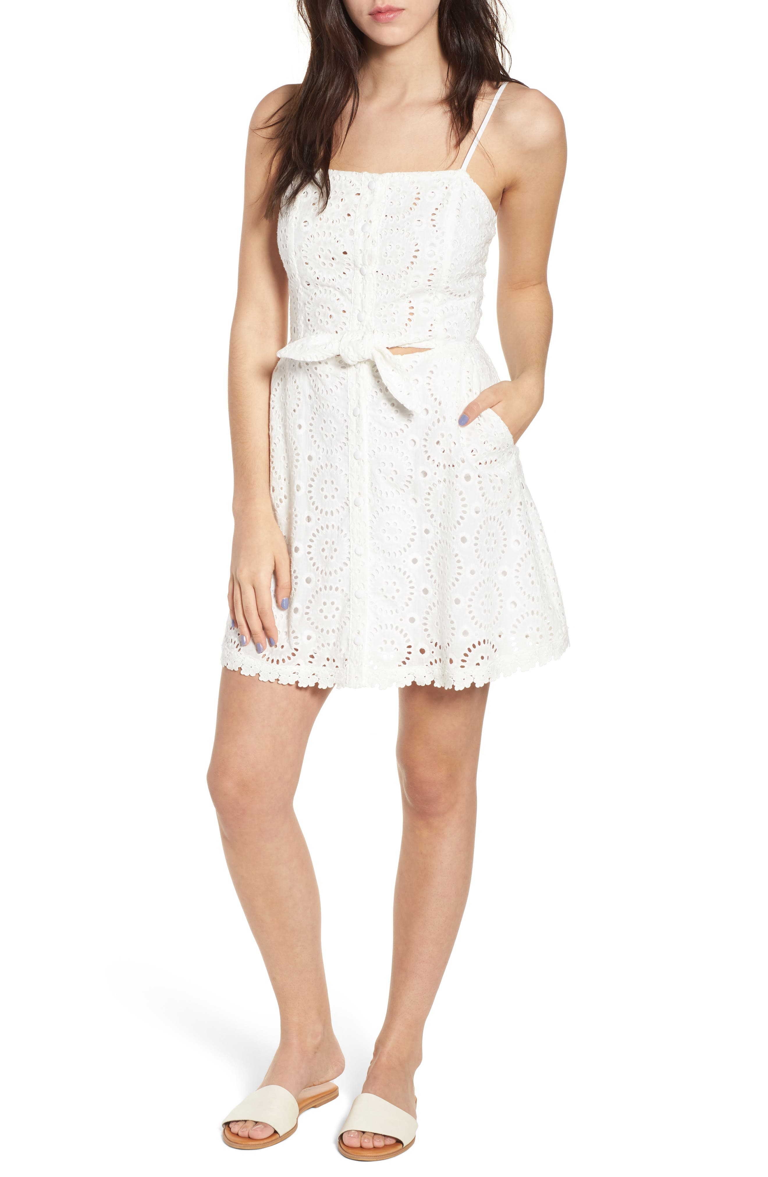Bianca Eyelet Minidress,                         Main,                         color, 100