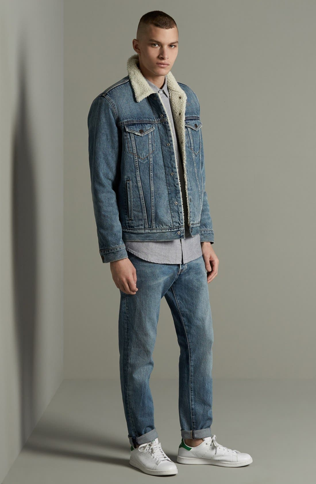 '1967 Type III' Denim Jacket with Faux Fur Collar,                             Alternate thumbnail 5, color,                             400