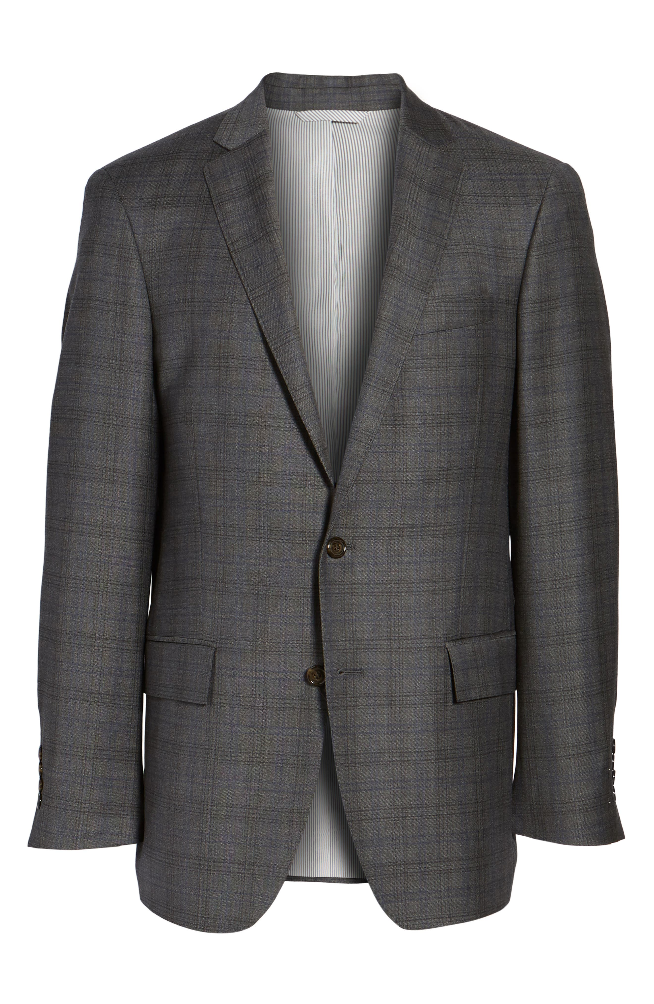 Sutton Trim Fit Plaid Wool Sport Coat,                             Alternate thumbnail 5, color,                             030