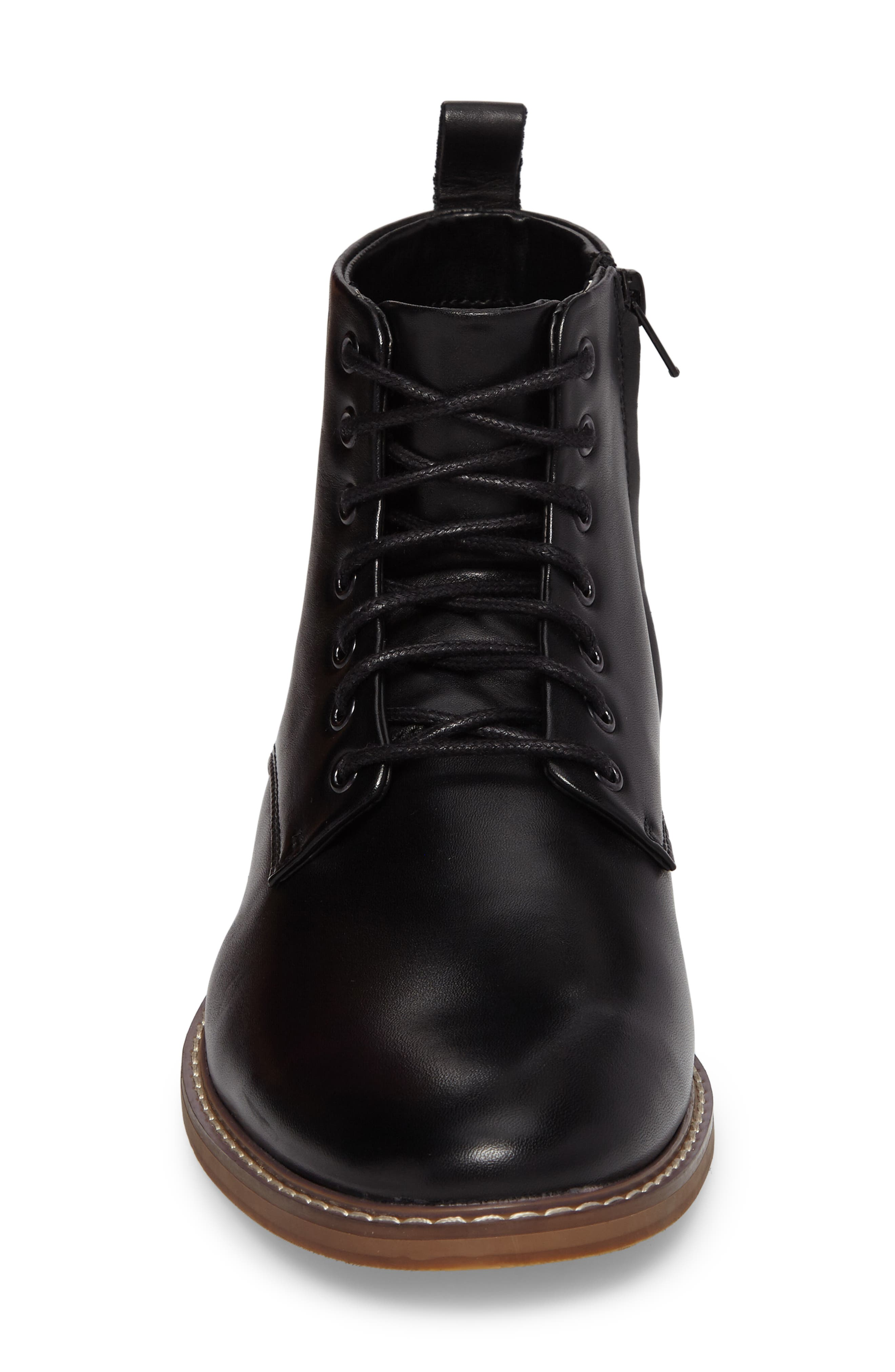Albany Plain Toe Boot,                             Alternate thumbnail 4, color,                             BLACK LEATHER