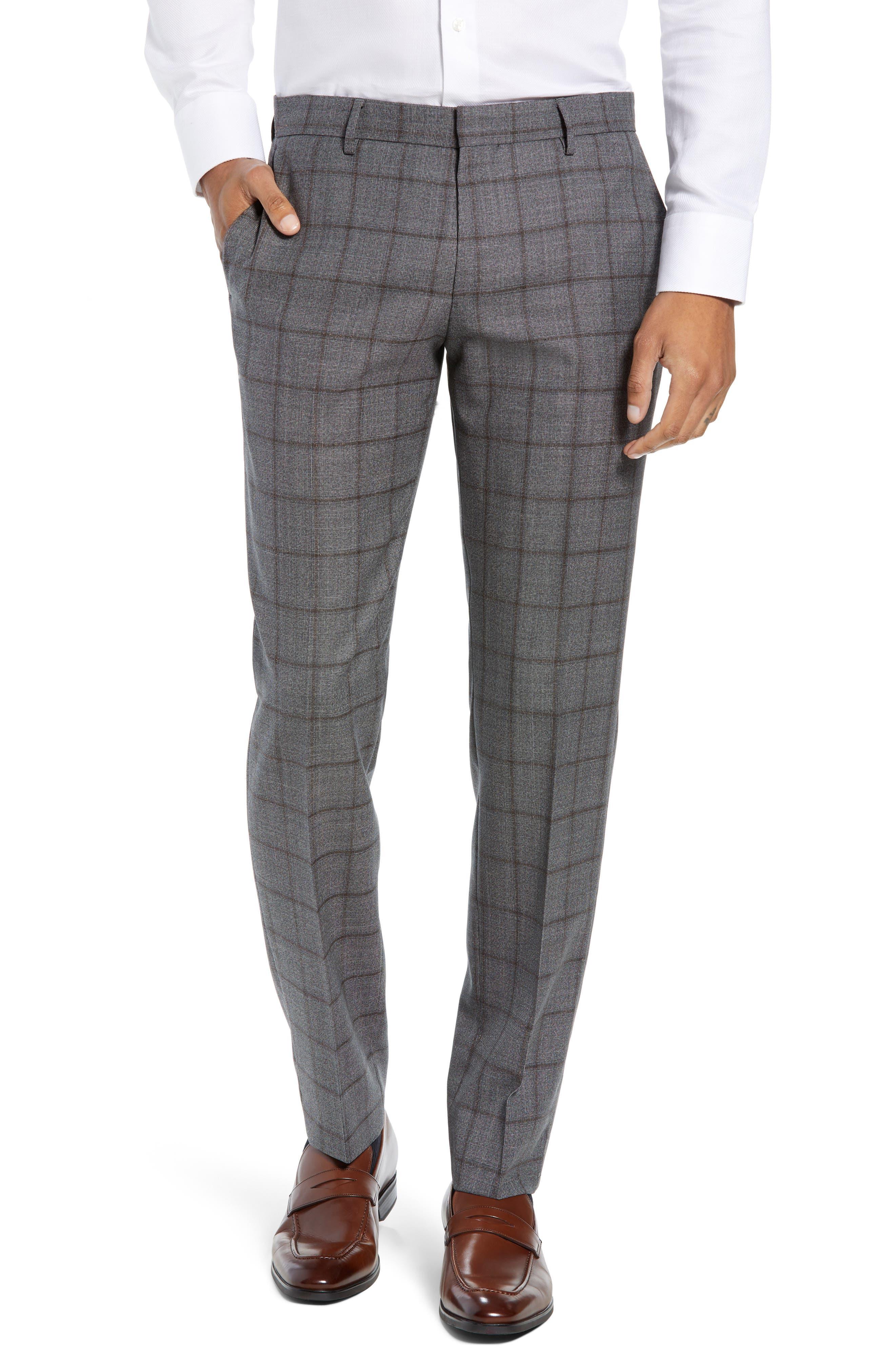 Novan/Ben Trim Fit Windowpane Wool Suit,                             Alternate thumbnail 5, color,                             OPEN GREY