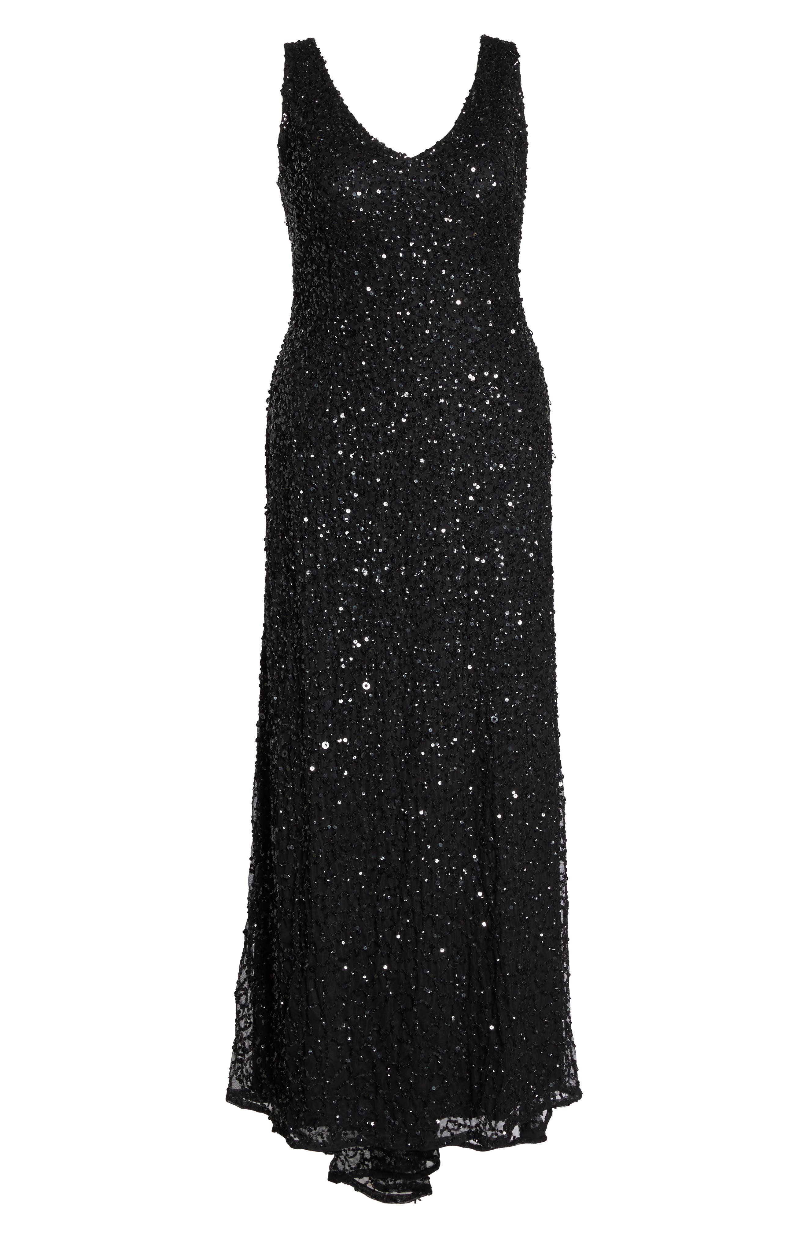 Sequin A-Line Gown,                             Alternate thumbnail 6, color,                             002