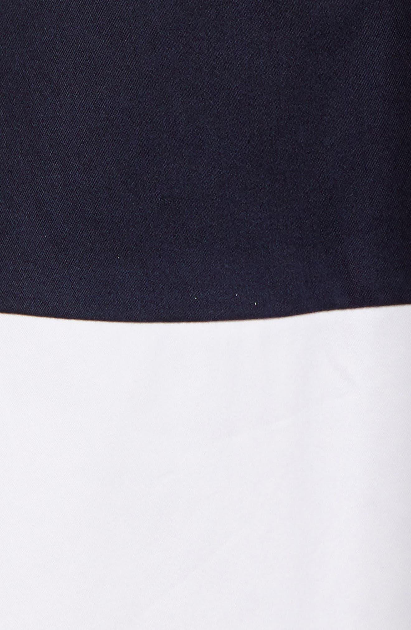 Stripe Fit & Flare Dress,                             Alternate thumbnail 5, color,                             410