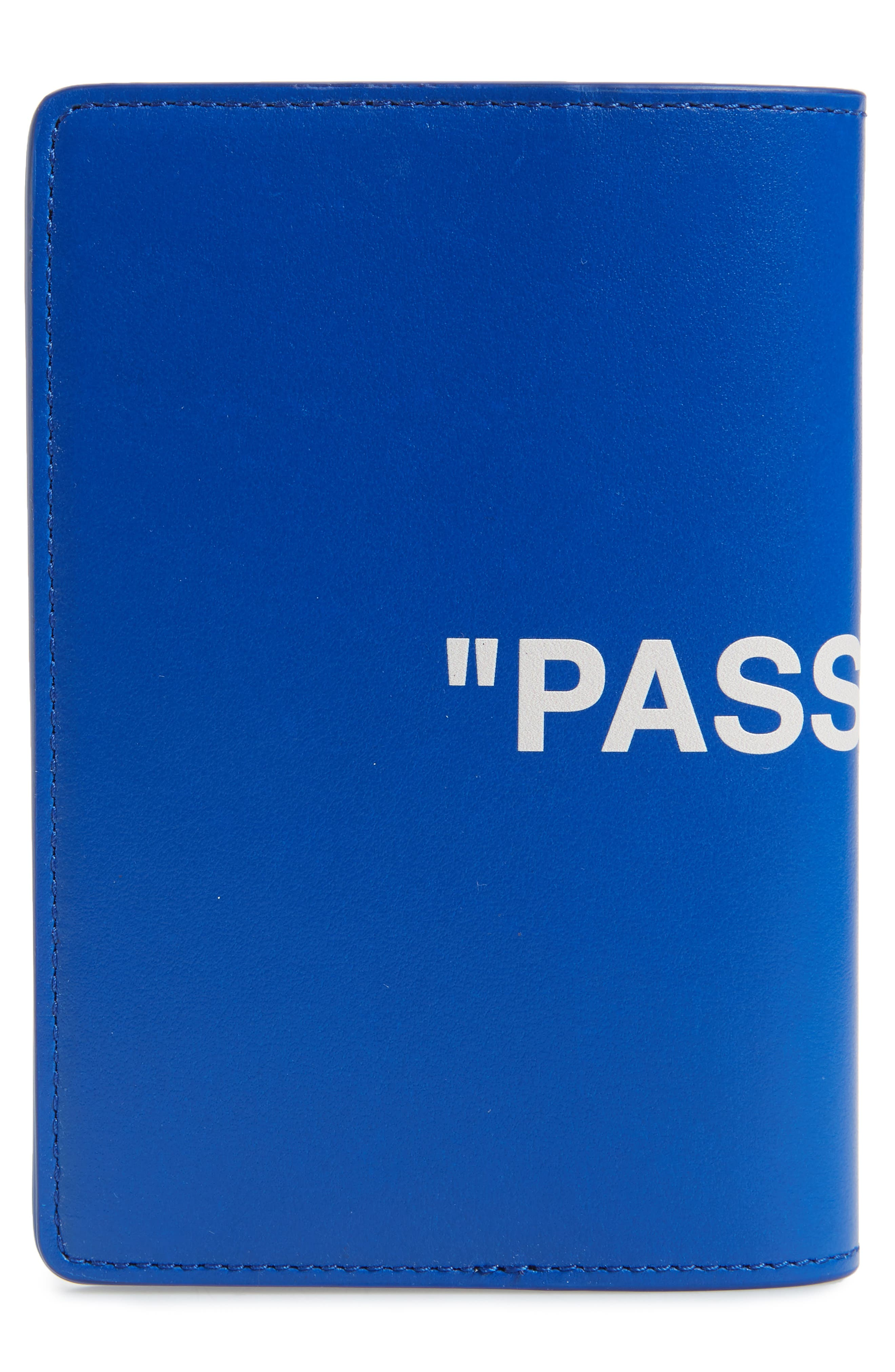 Quote Leather Passport Wallet,                             Alternate thumbnail 3, color,                             BLUE/WHITE