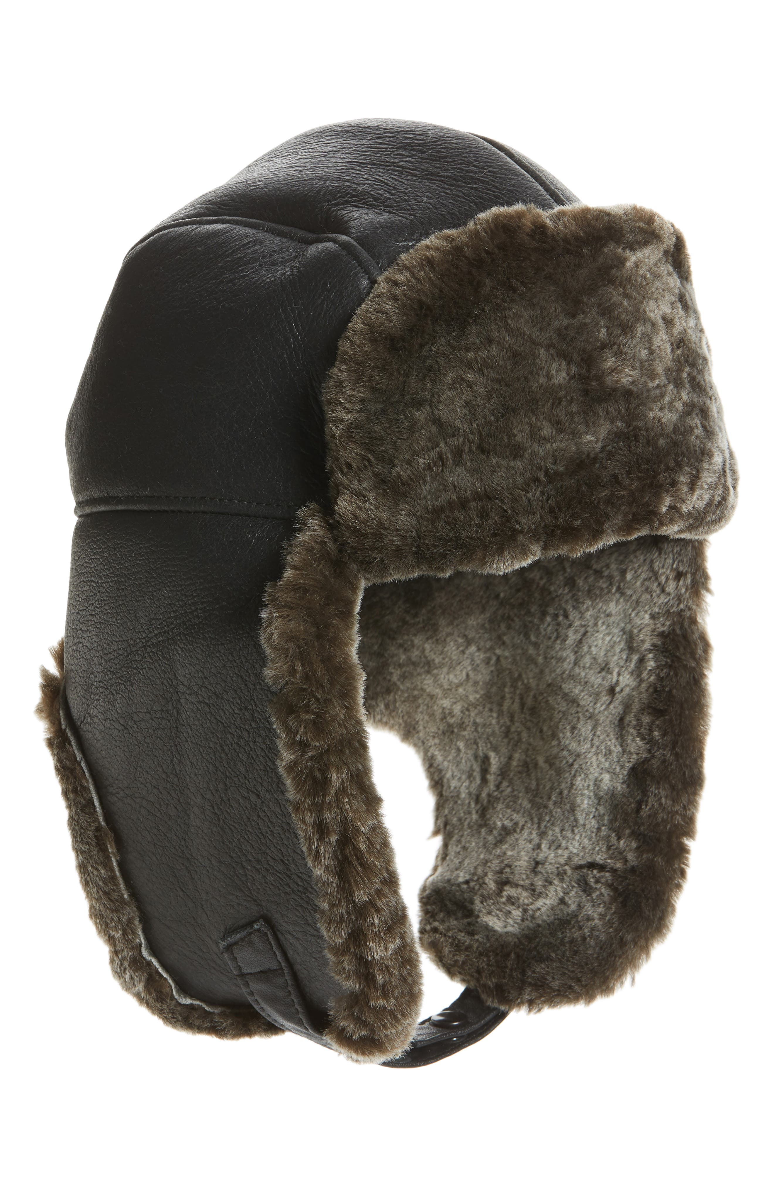 Crown Cap Accessories GENUINE SHEARLING LEATHER TRAPPER HAT - GREY