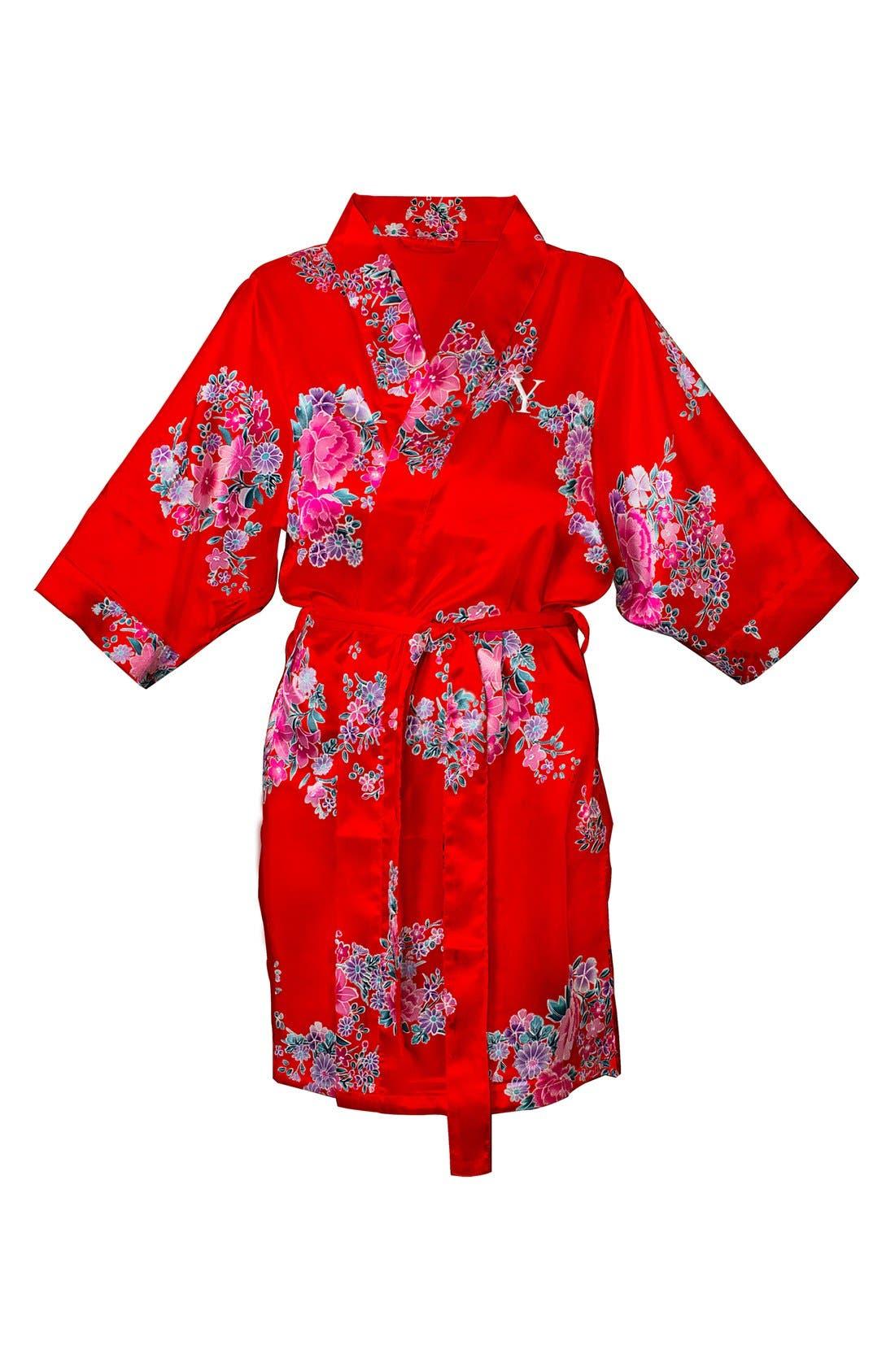 Monogram Floral Satin Robe,                             Main thumbnail 80, color,